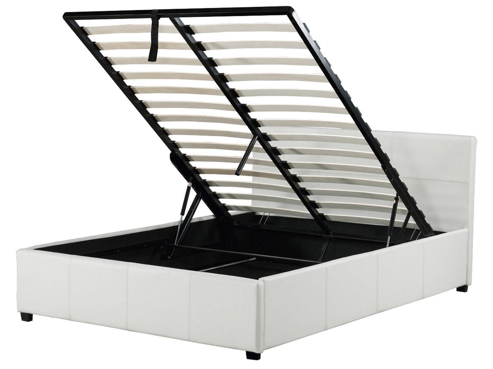 White Leather Ottoman Lift Up Storage Bed In 3ft 4ft