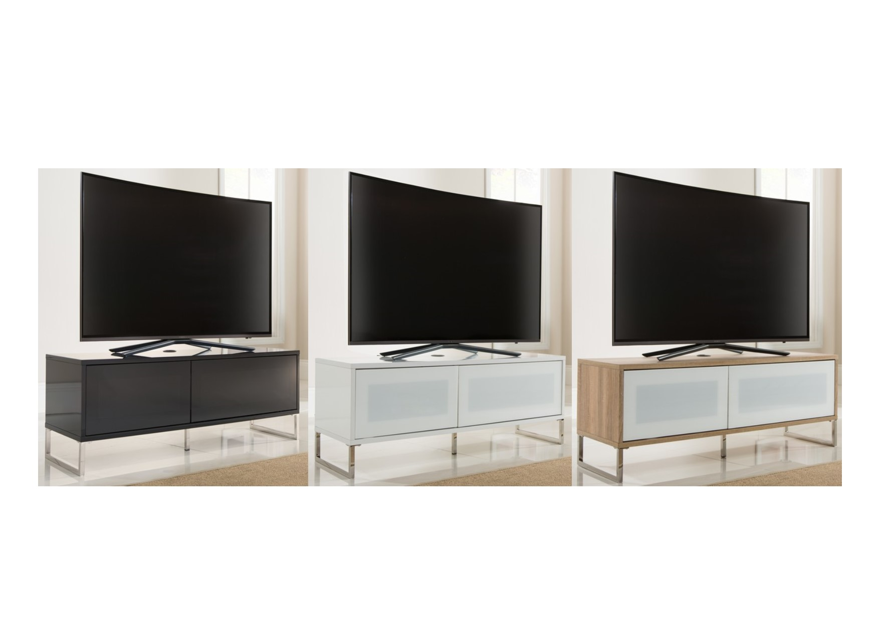 Alphason Helium Floor Or Wall Mounted Tv Cabinet Stand Black White Light Oak
