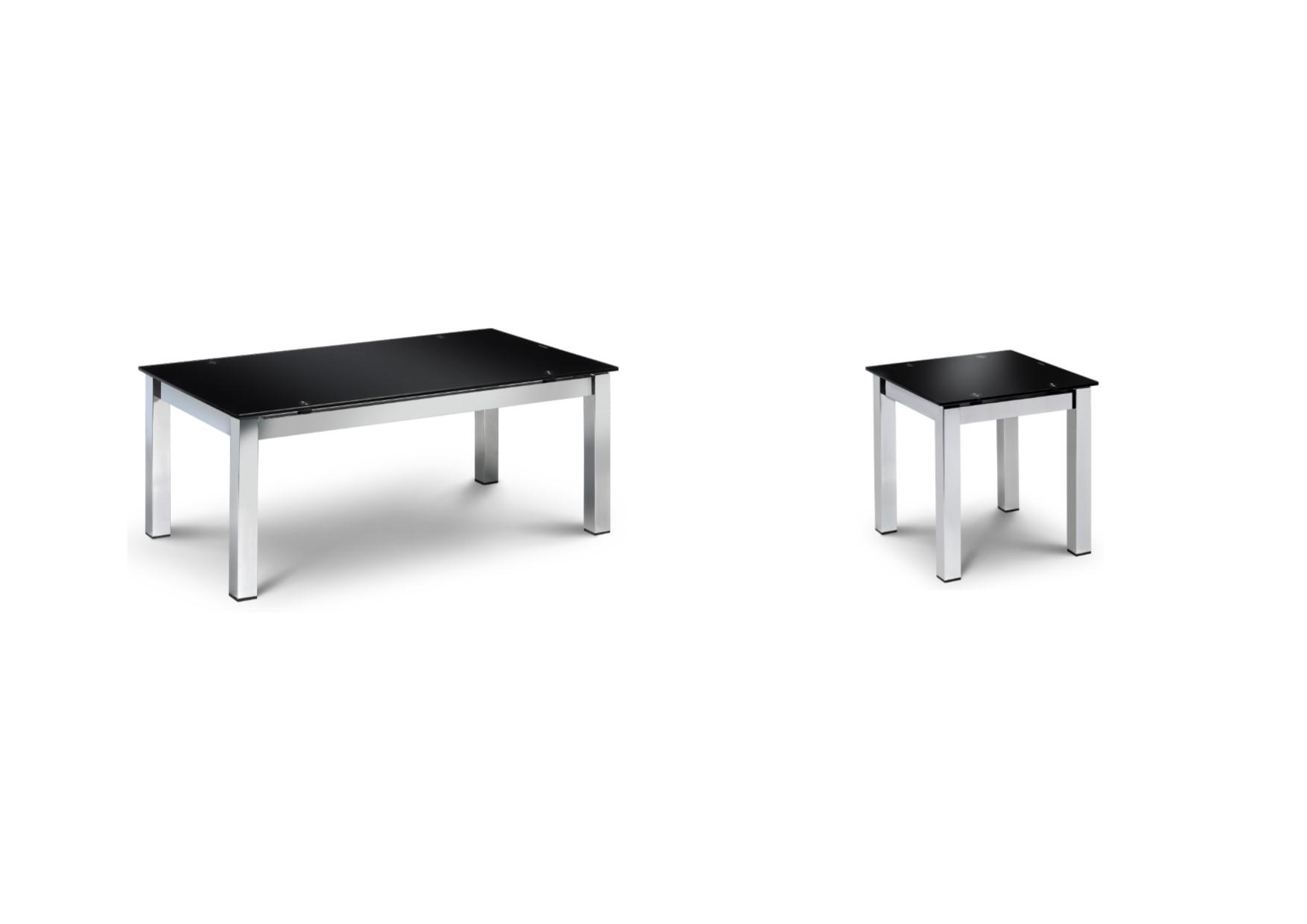 Julian Bowen Tempo Chrome & Black Glass Coffee Table Lamp
