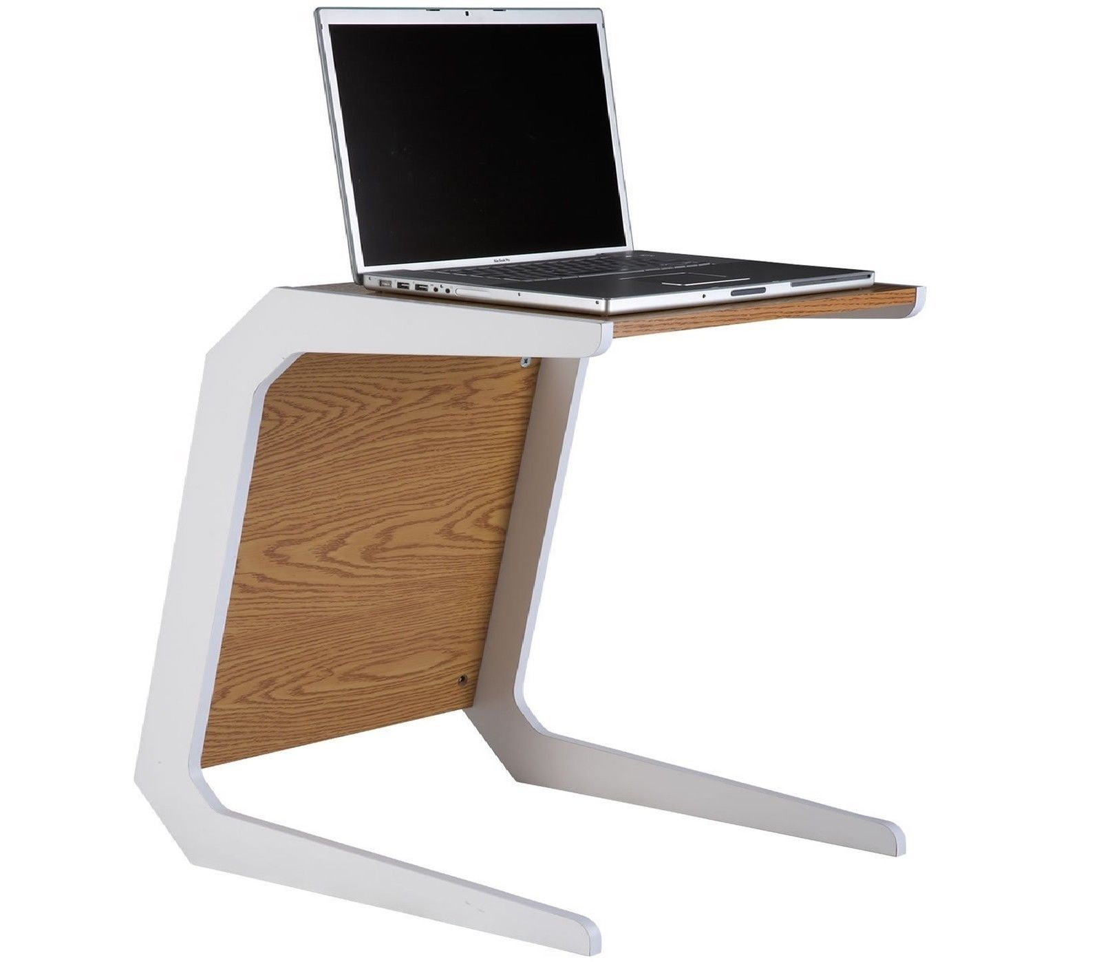 Quadro Laptop Table White Cantilever Legs Oak Front Panel And Top
