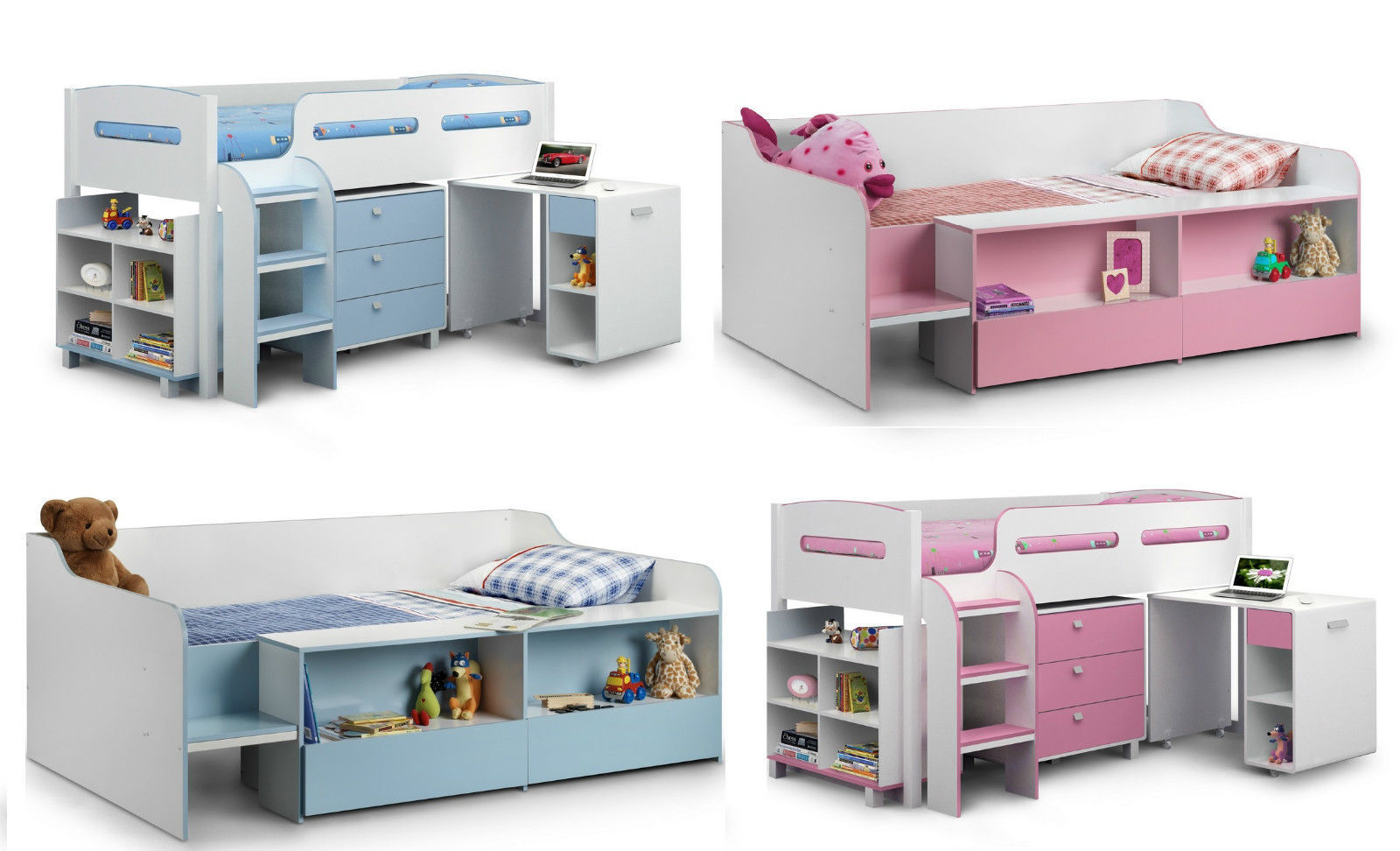 Stella Kimbo Low or Mid Sleeper Cabin Beds Blue or Pink ...