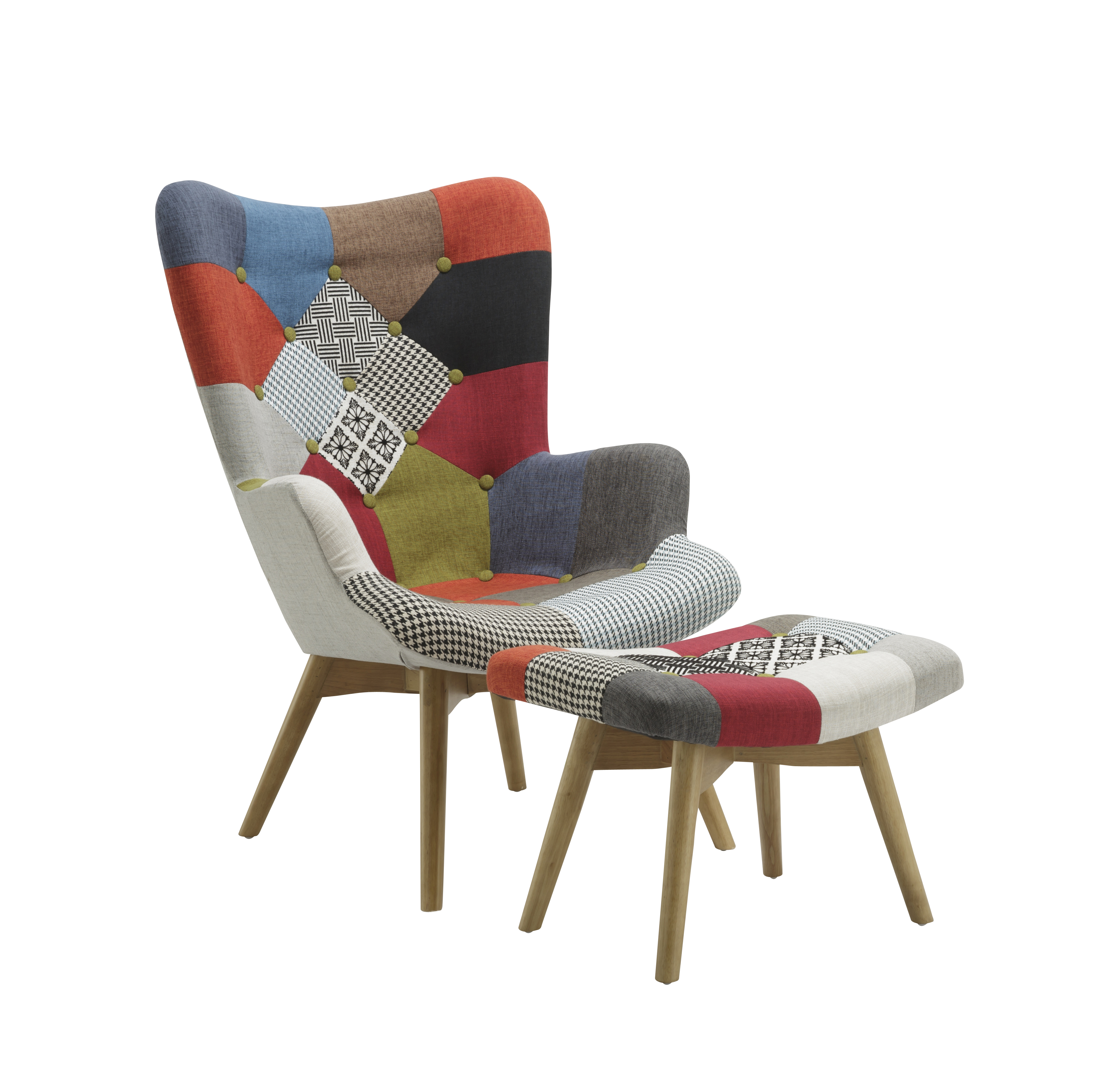 Patchwork Armchair & Stool Multicolour