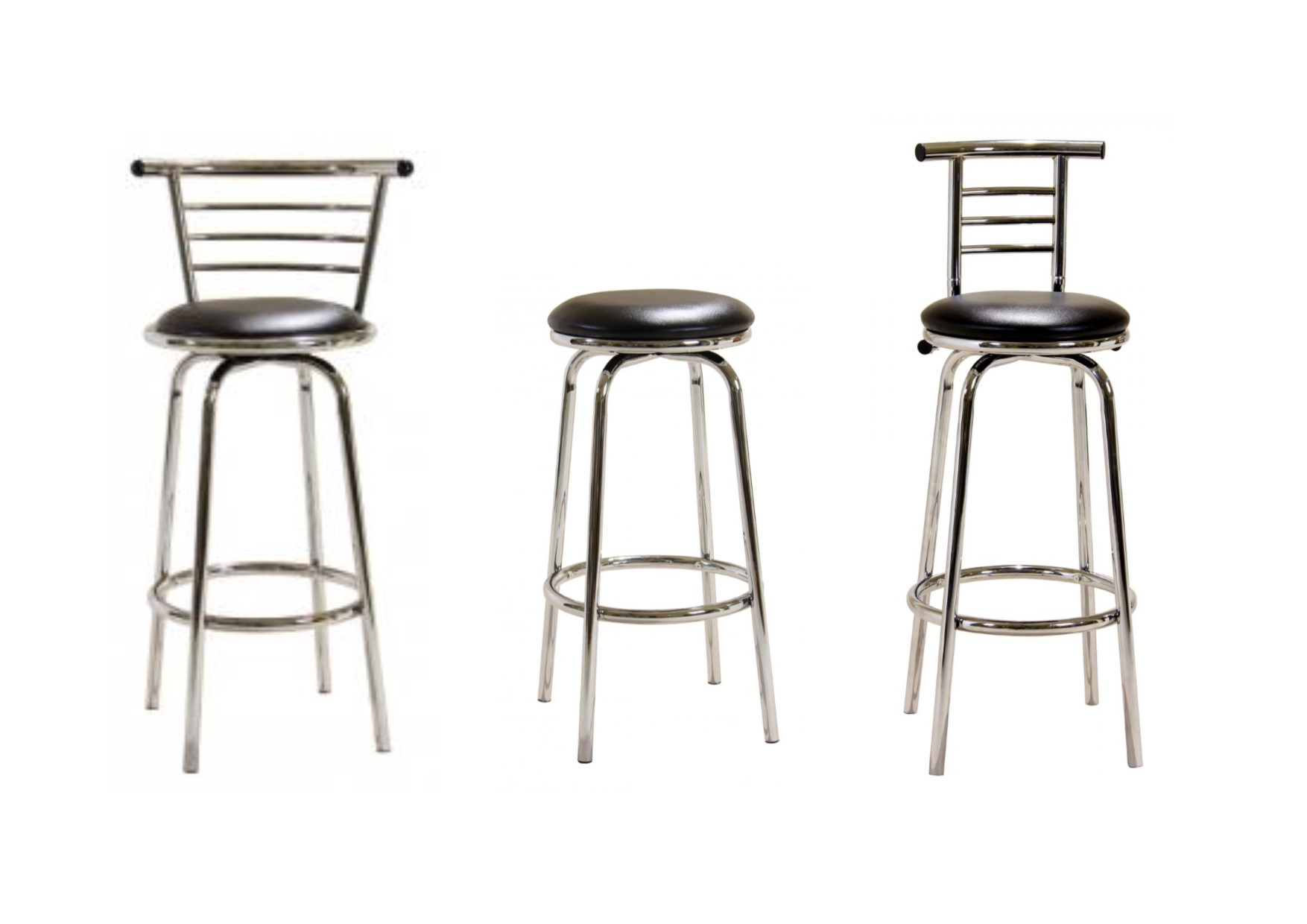 Heartlands Chrome Swivel Bar Stools No Back Narrow Wide