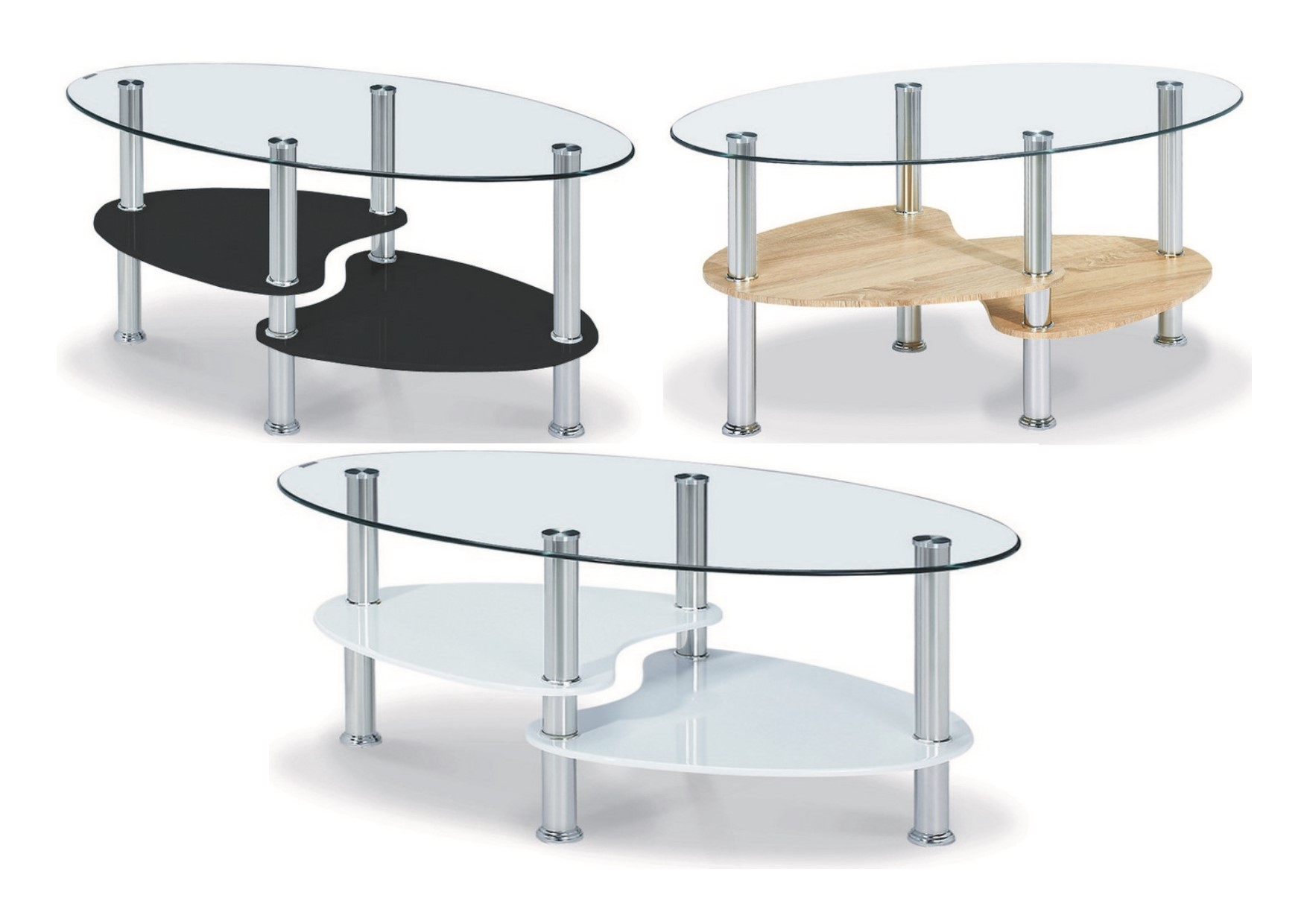 Oval Coffee Table With Shelf.Details About Heartlands Hurst Glass Oval Coffee Table 2 Shelves Black White Wood Effect