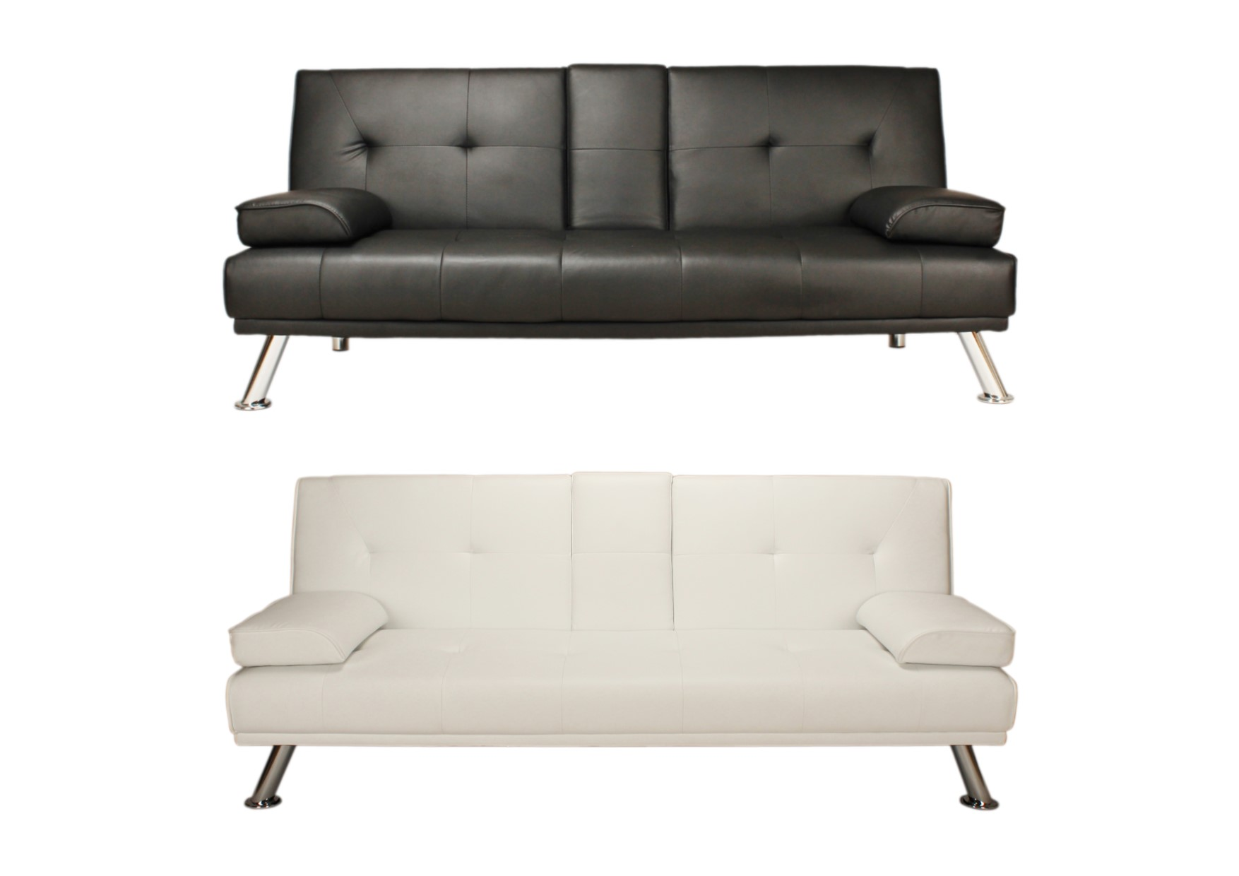 Peachy Details About Como Contemporary Faux Leather Sofa Bed Click Clack Black White Ncnpc Chair Design For Home Ncnpcorg