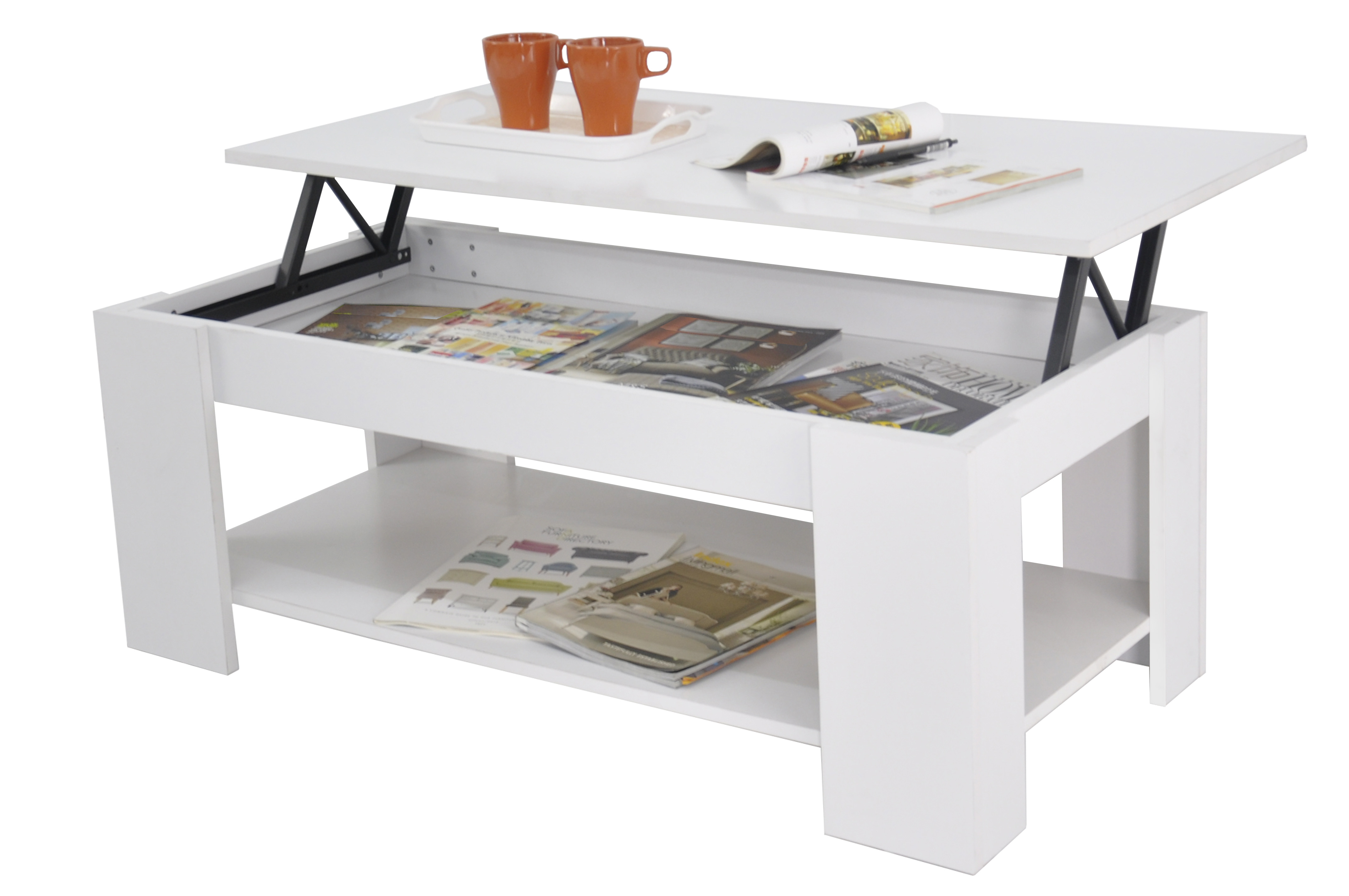 New Kimberly Lift Up Top Coffee Table With Storage Shelf White Ebay