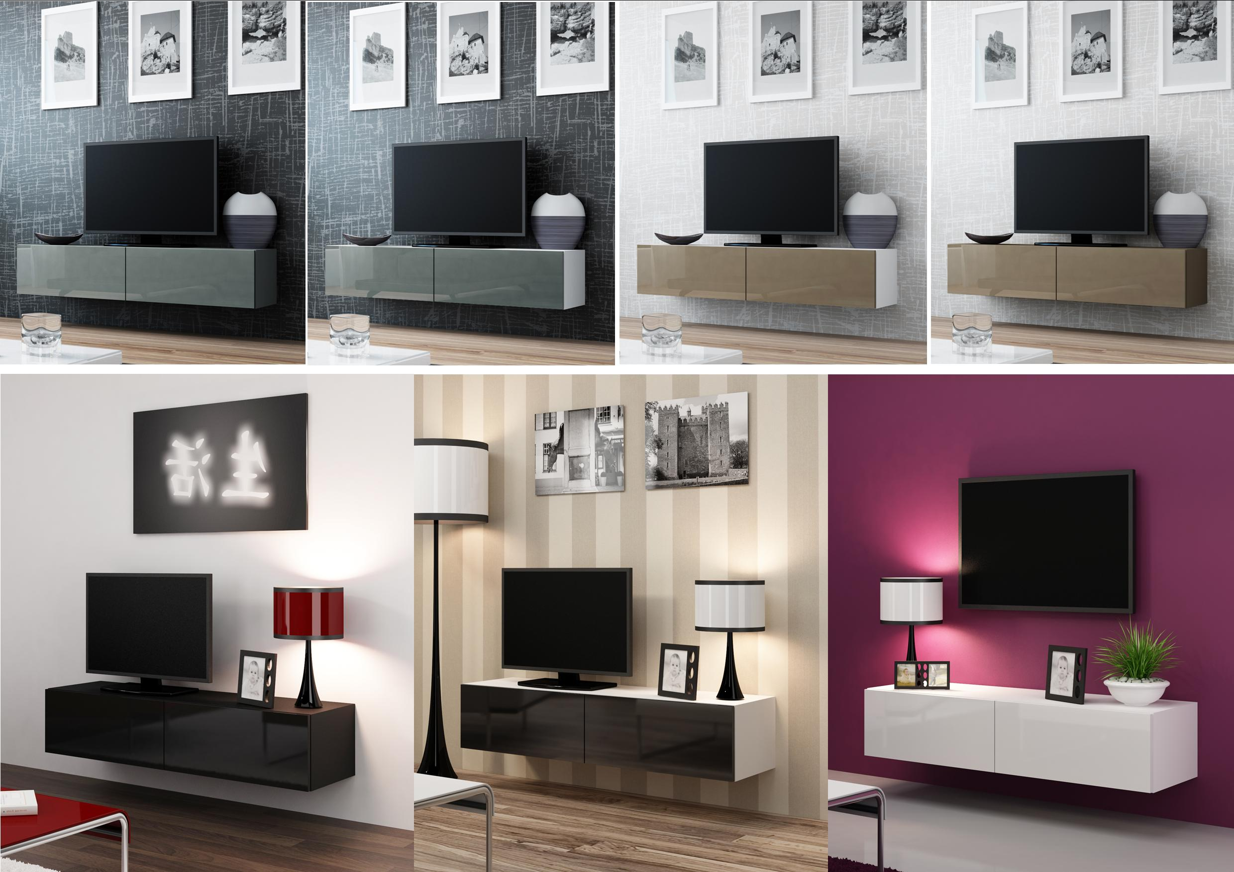 high gloss tv stand cabinet wall mountable floating. Black Bedroom Furniture Sets. Home Design Ideas
