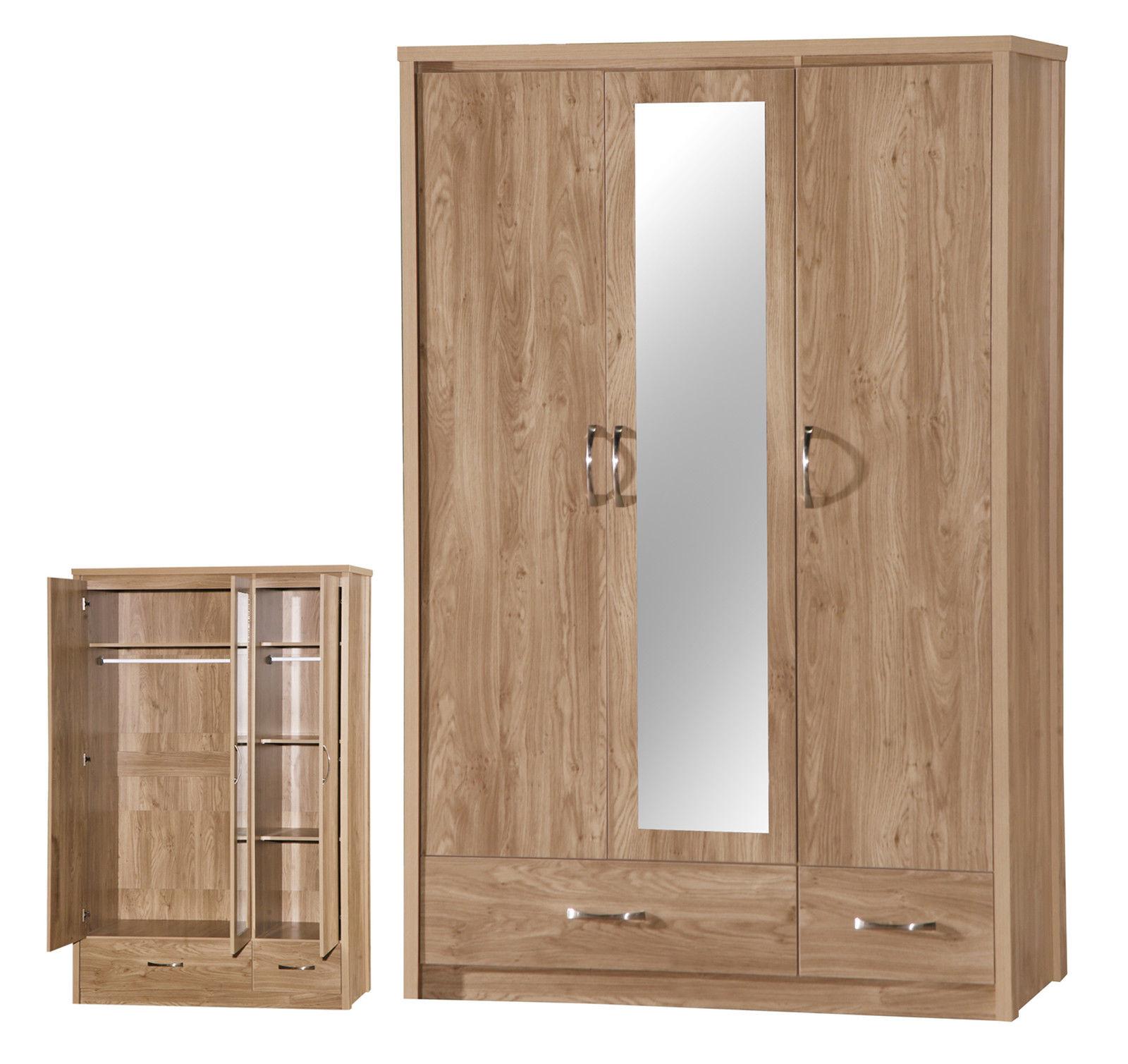 Holland Oak 3 Door Mirrored Wardrobe Modern Design Part Of Large Range