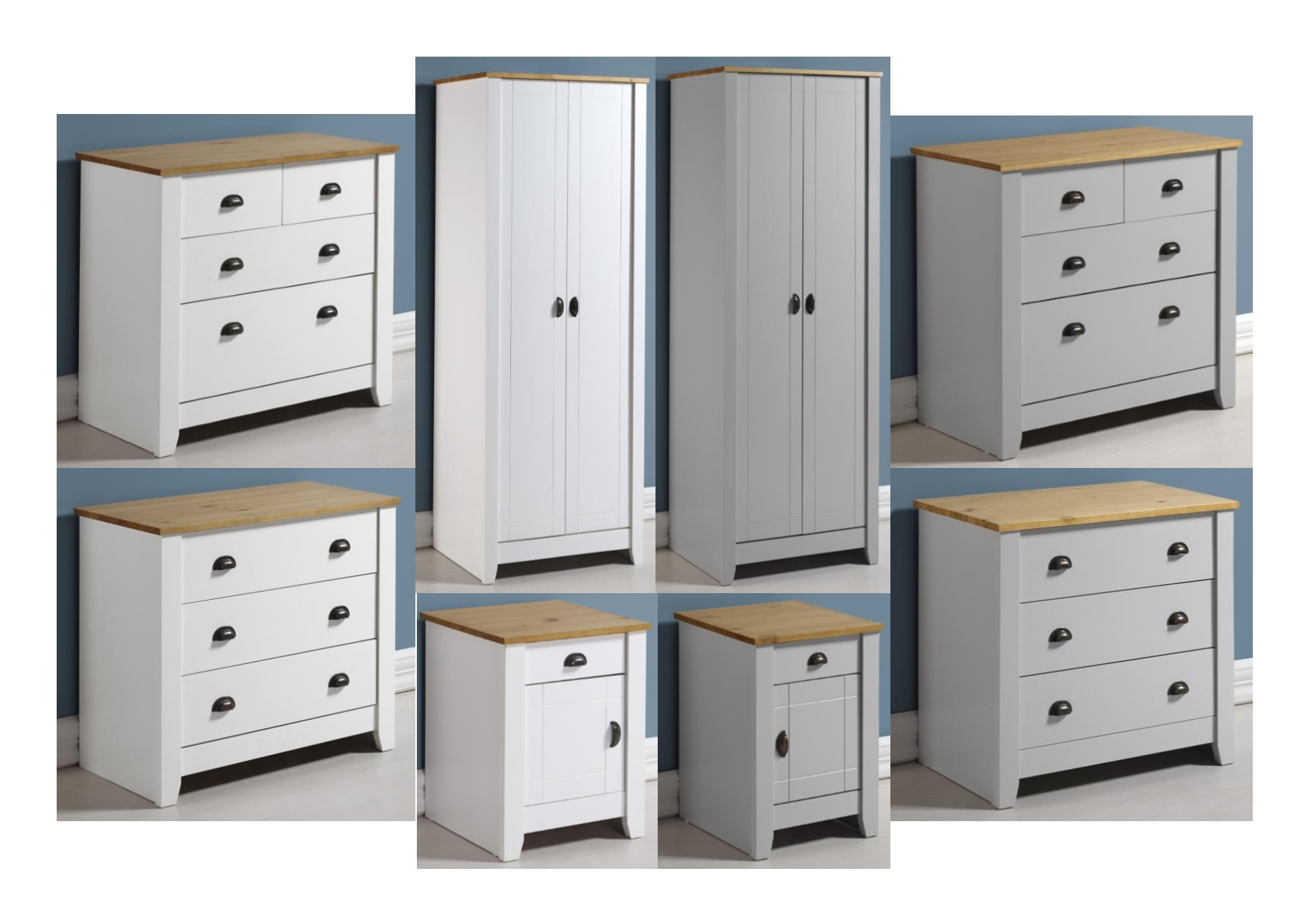 Details About Seconique Ludlow Pine Bedroom Range White Or Grey Wardrobe Chests Bedside