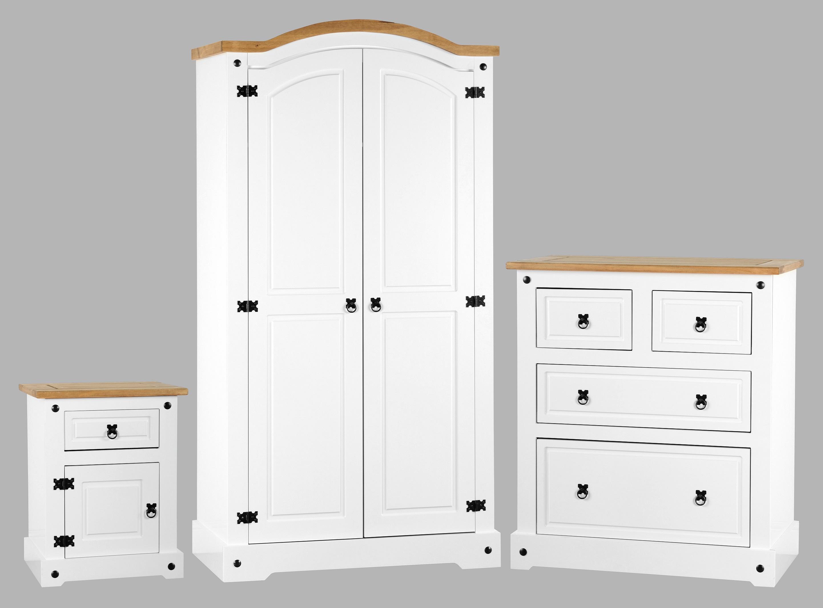 Corona White Amp Pine Trio Bedroom Set Wardrobe Chest