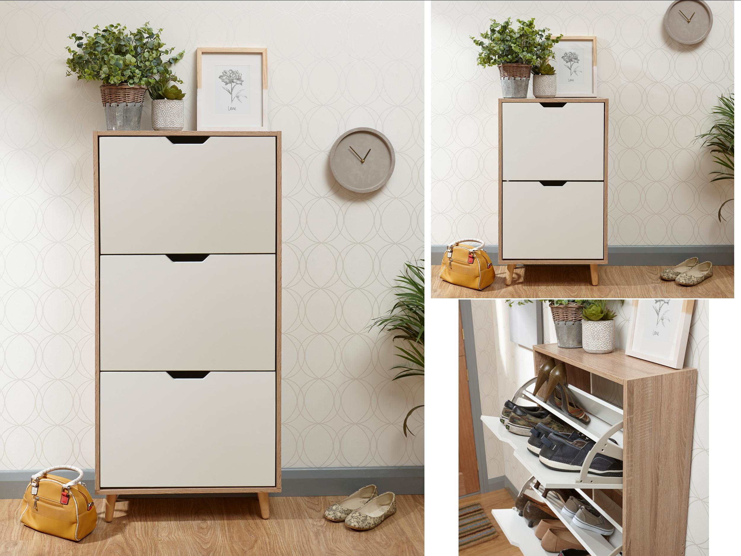 Stockholm 2 & 3 Tier Shoe Cabinets - White & Oak - Retro ...