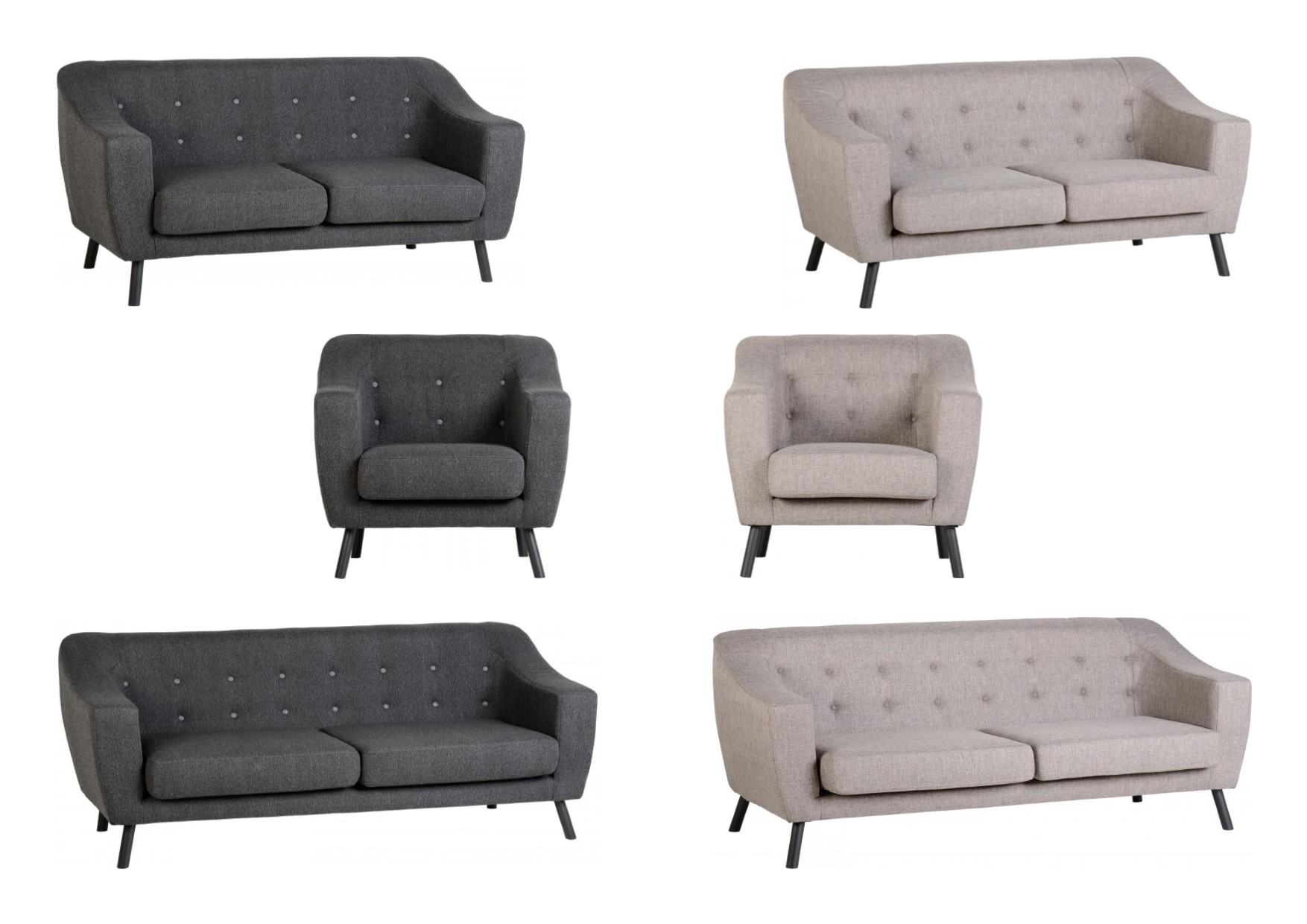 Seconique Ashley Sofa Collection Chair 2 & 3 Seater Sofa Beige