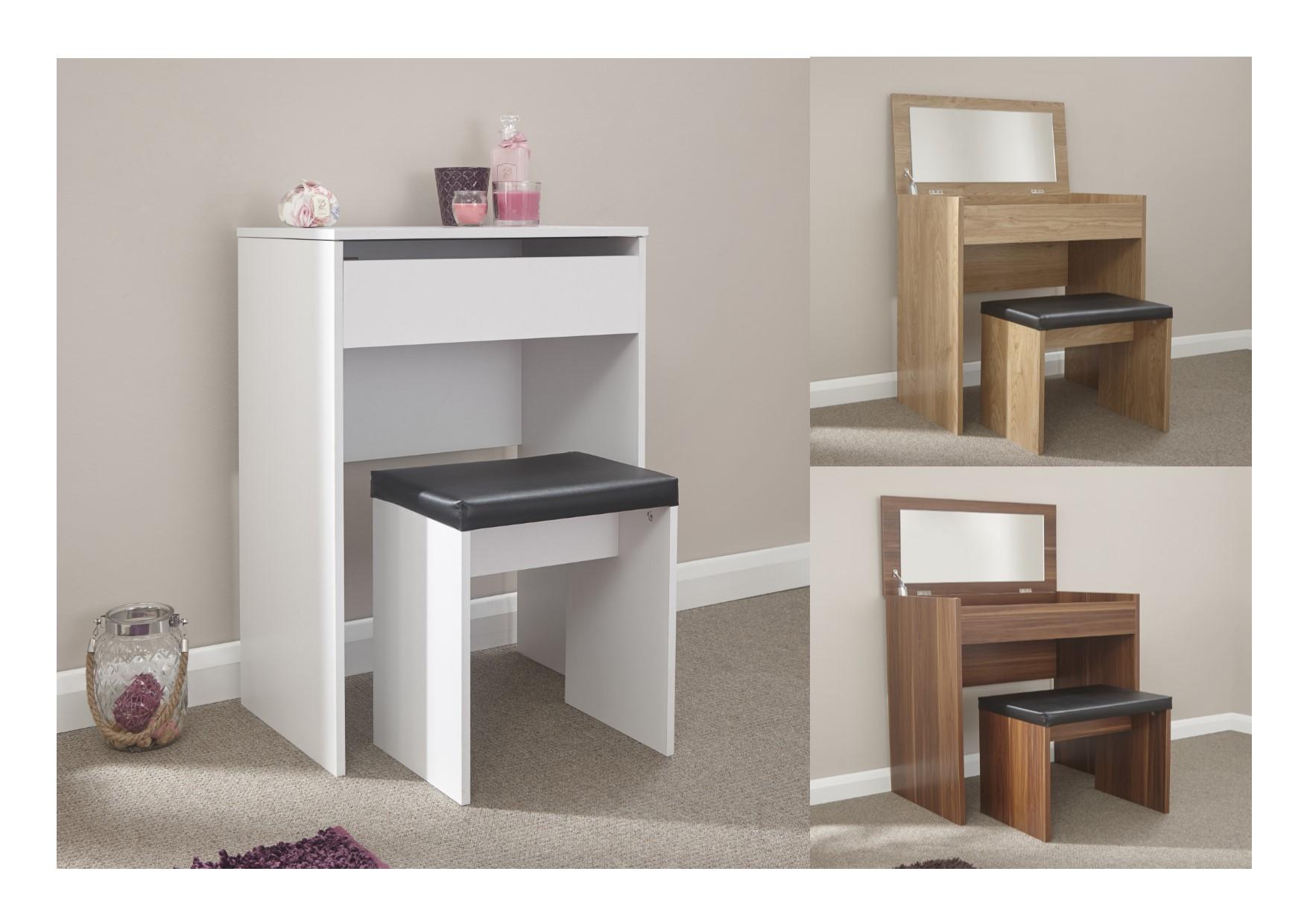 Compact Dresser Mirror Stool Set Oak Walnut White
