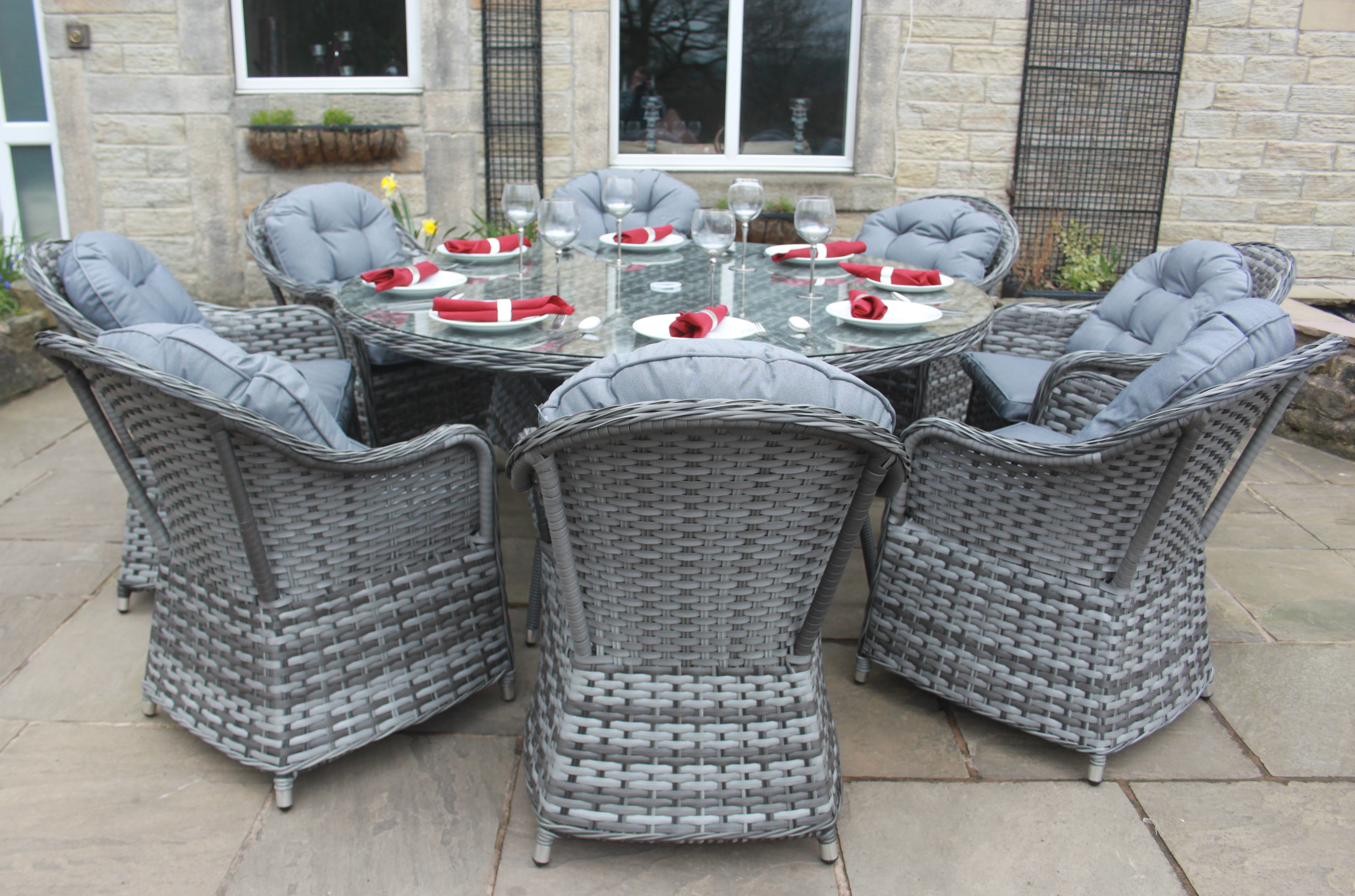 Luxury grey rattan garden furniture 8 seat round dining set without parasol