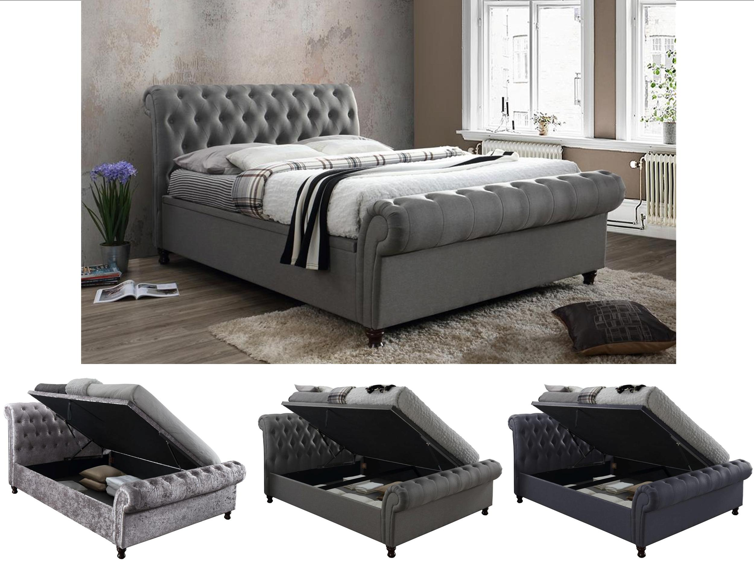 Fine Details About Birlea Castello Luxury Chesterfield Side Lift Ottoman Bed Charcoal Grey Steel Forskolin Free Trial Chair Design Images Forskolin Free Trialorg