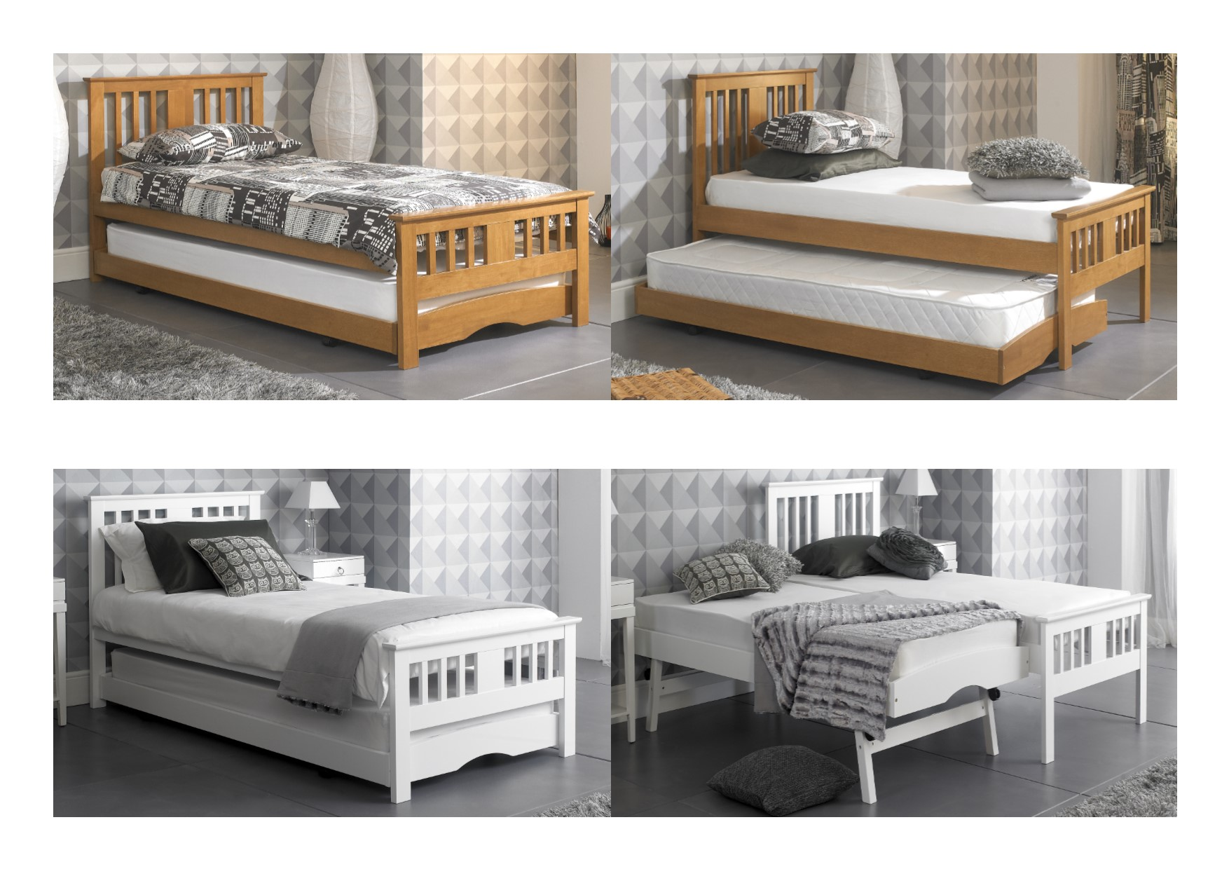 artisan beds rubberwood single guest bed with trundle 17073 | guest 20bed 20main 20pic