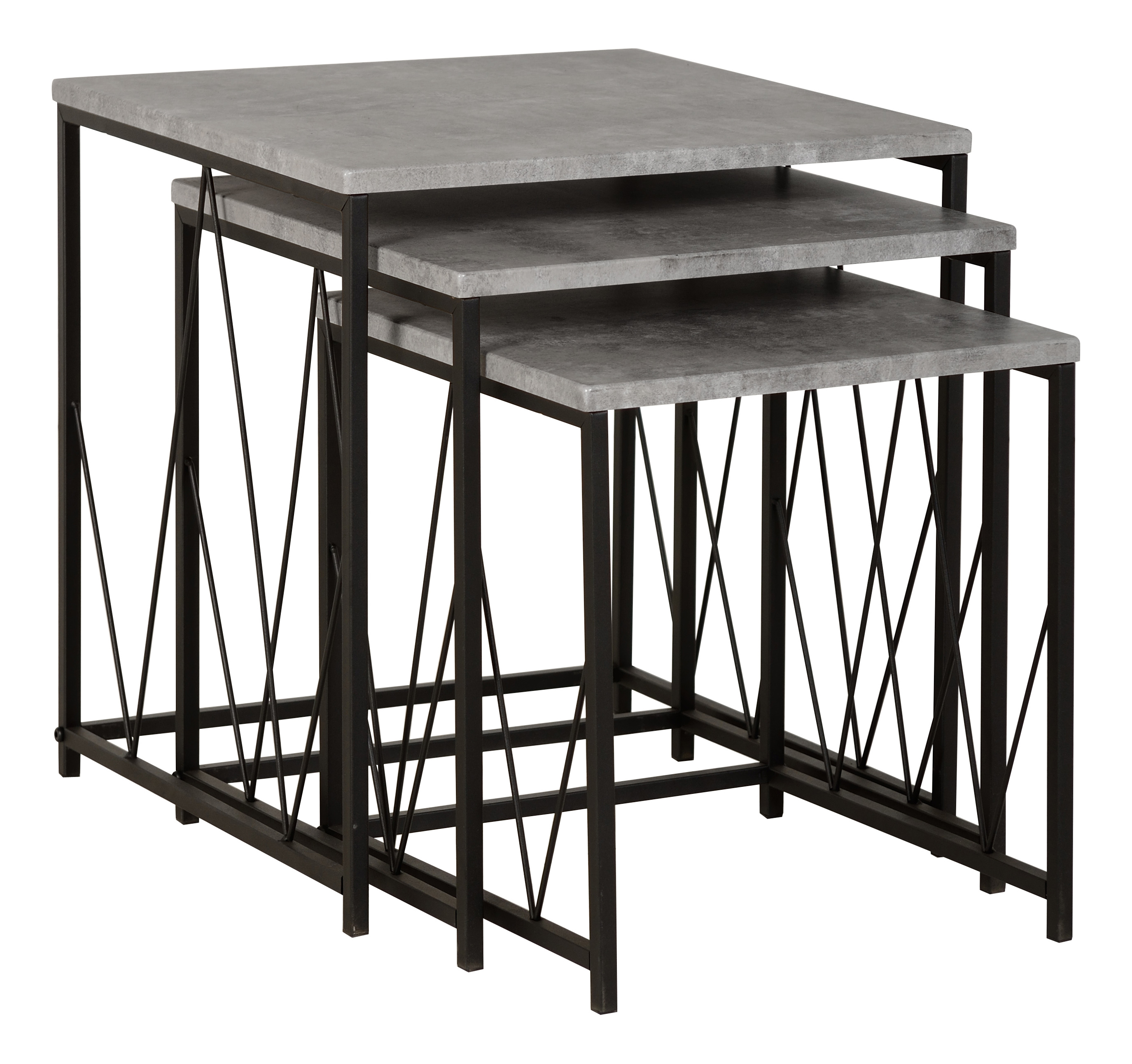 Details about athens nest of tables in concrete effect black dining living room furniture