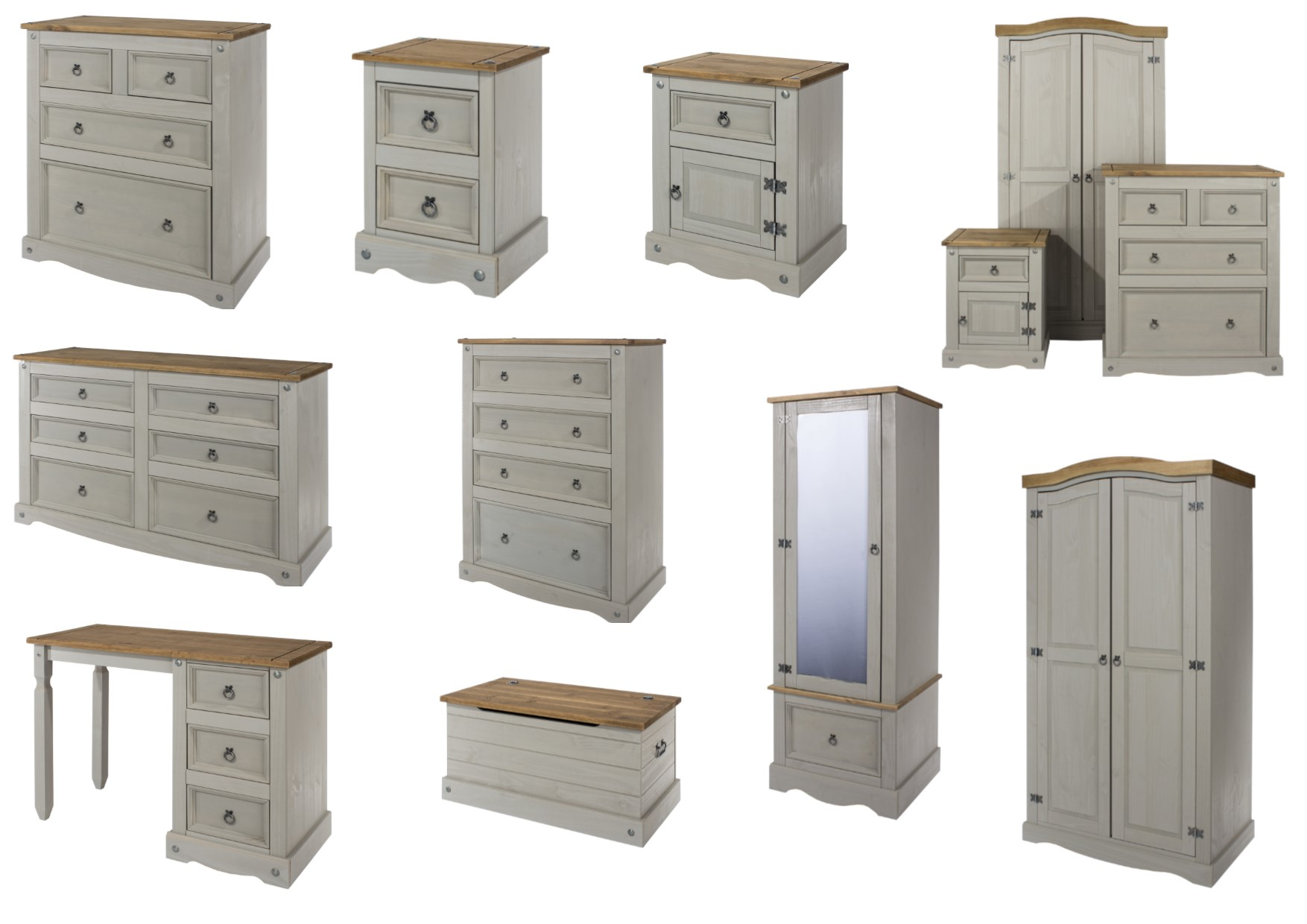 reputable site ab36e 4a1b1 Details about Premium Corona Grey Washed Bedroom Furniture - Bedside  Drawers Wardrobe Storage
