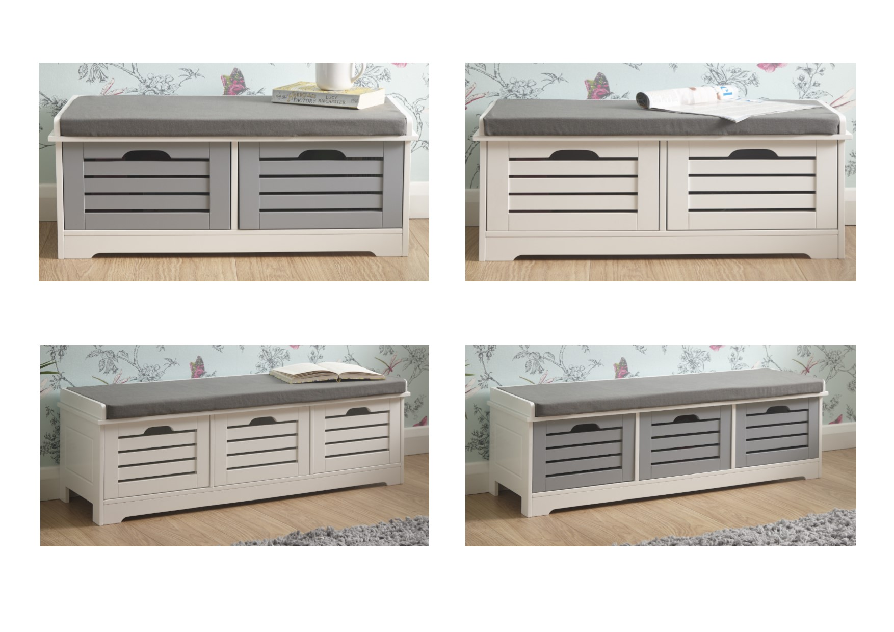 Cavendish Shoe Storage Bench Cabinet Small Or Large Grey White