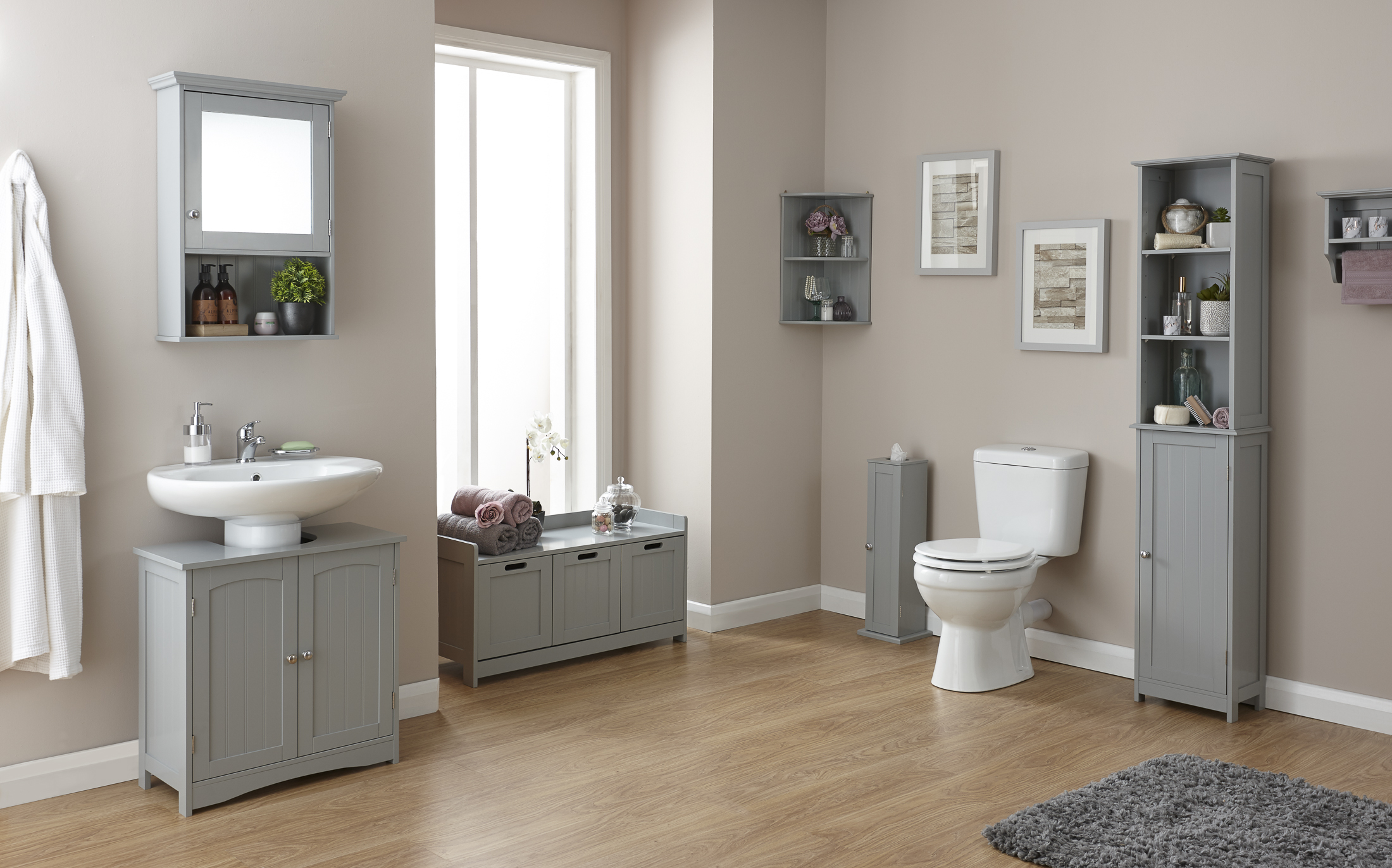 Colonial Grey Tongue Grove Wooden Effect Bathroom Furniture Range