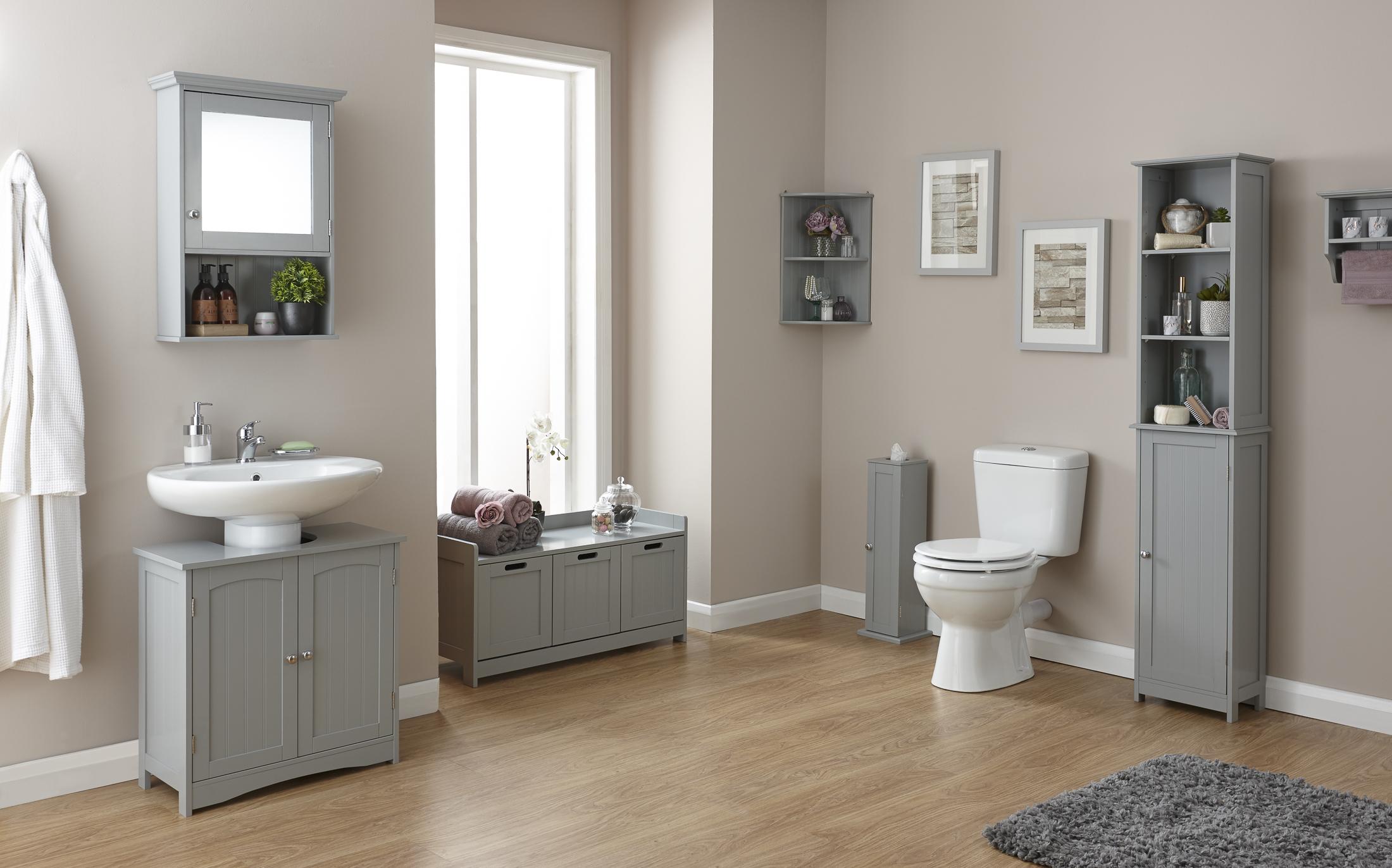 Grey Wood Bathroom Furniture Colonial Range Cupboards Storage  # Muebles Colineal Ecuador