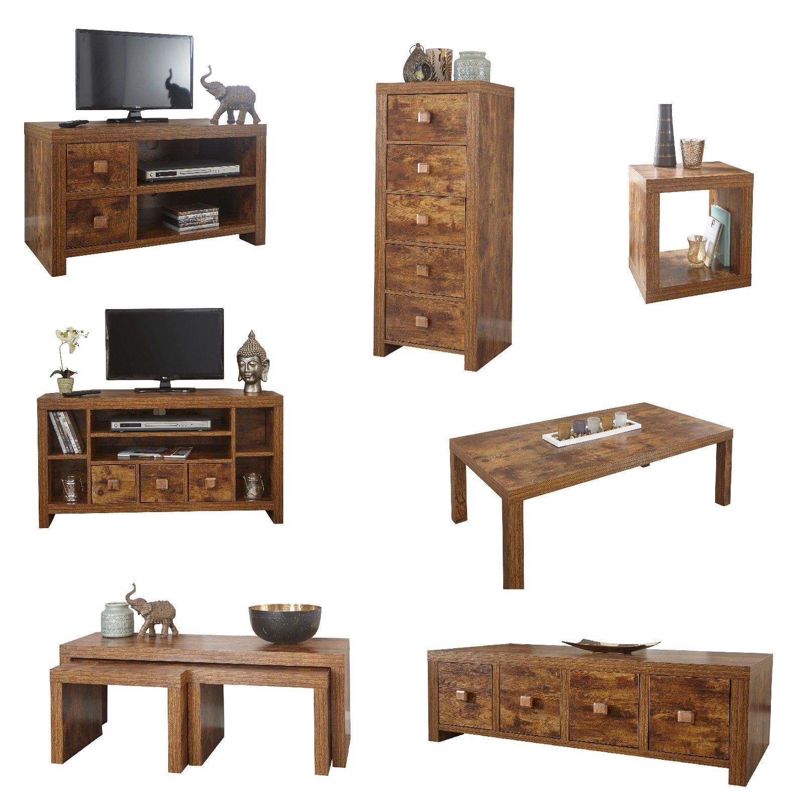 Jakarta Mango Living Room Furniture Drawers Tv Unit Cube