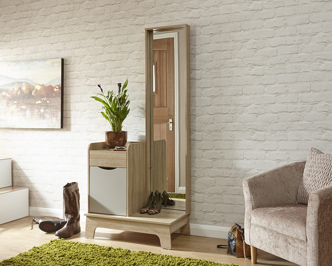 Luna Mirrored Hallway Storage Unit With Drawer And Full Length Mirror Oak