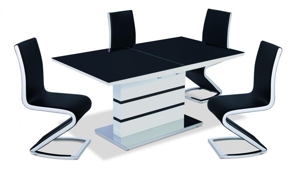 Details About Aldridge Designer High Gloss Gl Dining Table With Pu Leather Chairs Black