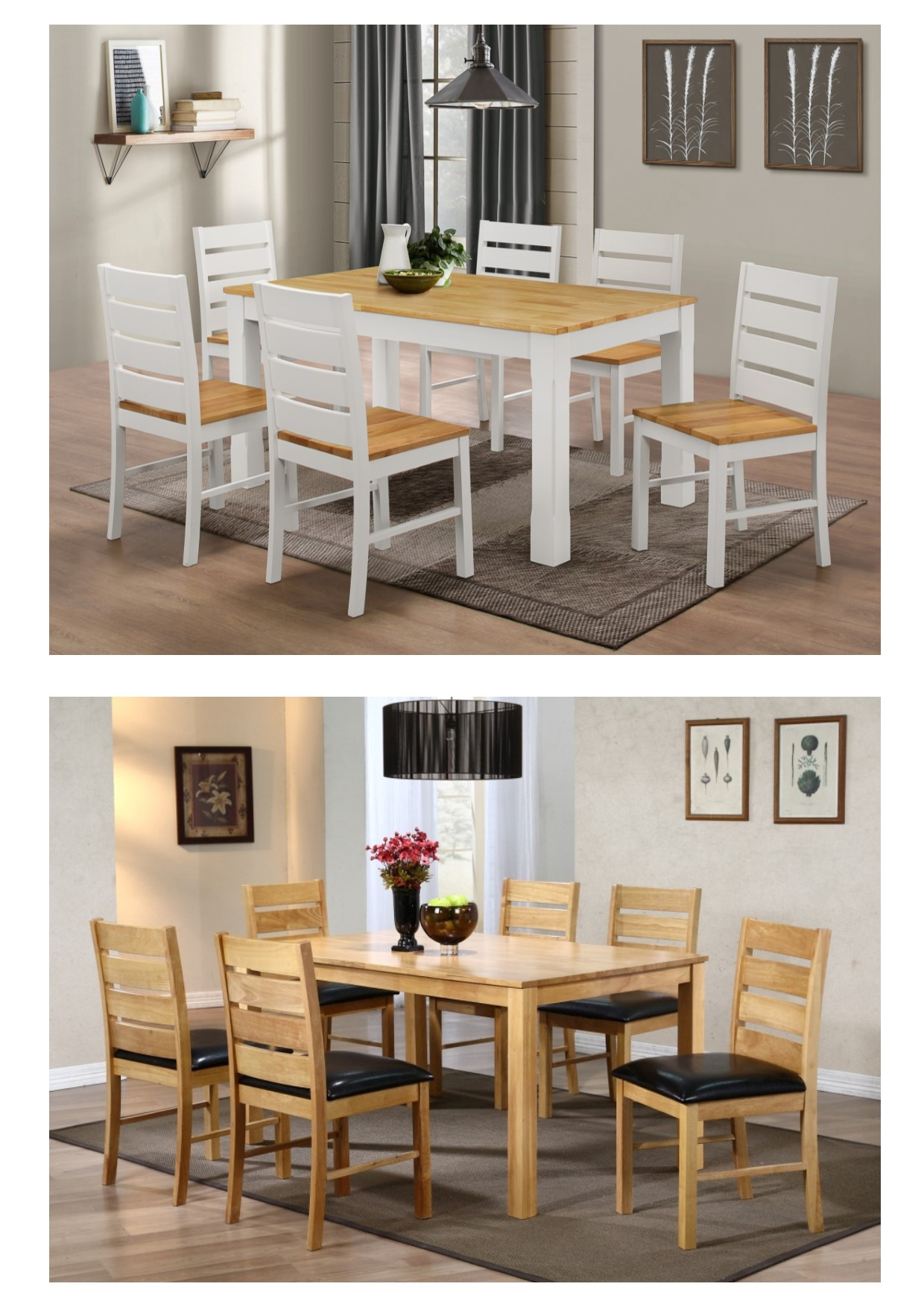 Fairmont solid wood dining table chair collection natural wood white finish