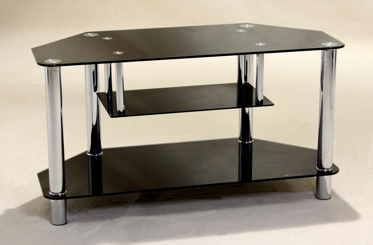 Details About Clio Black Gl Chrome 3 Tier Corner Tv Stand With Floating Under Shelf