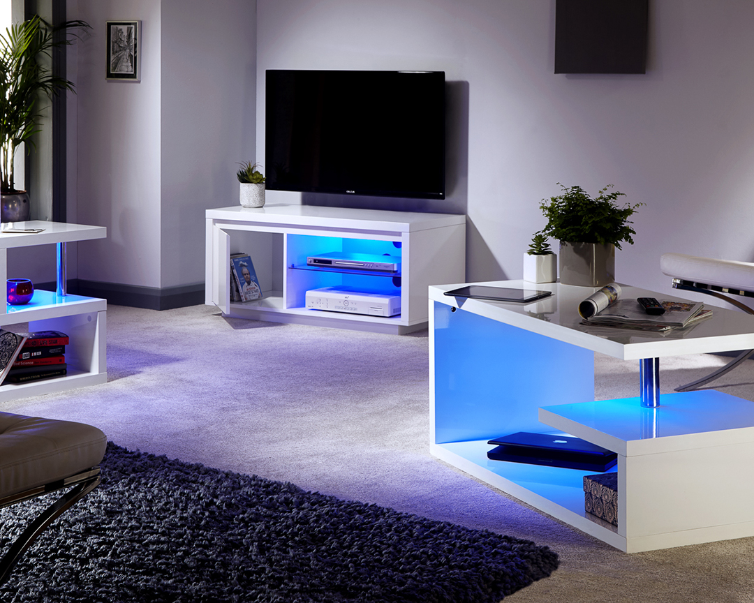 Polar white high gloss furniture with led lights coffee lamp tables tv unit