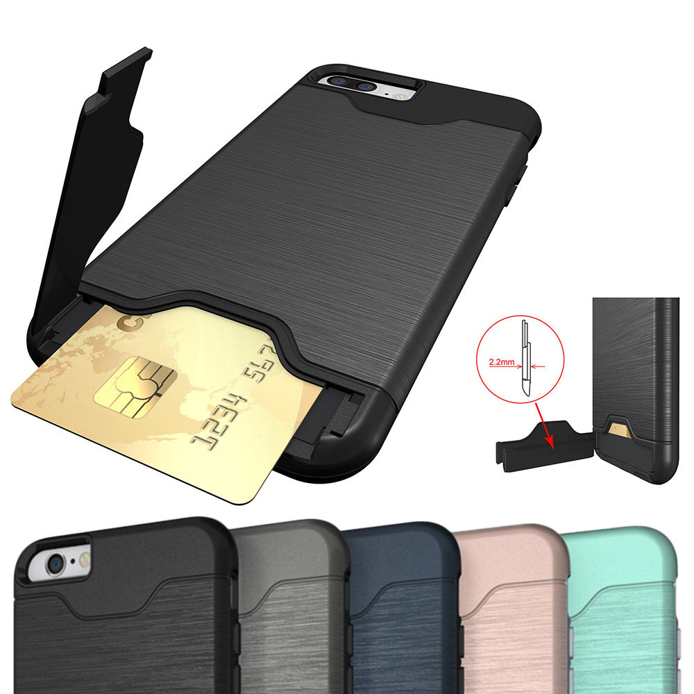 new concept ddedd 62610 Details about iPhone 7 Plus Shockproof Cover Case with Hidden Credit Card  Holder & Kickstand