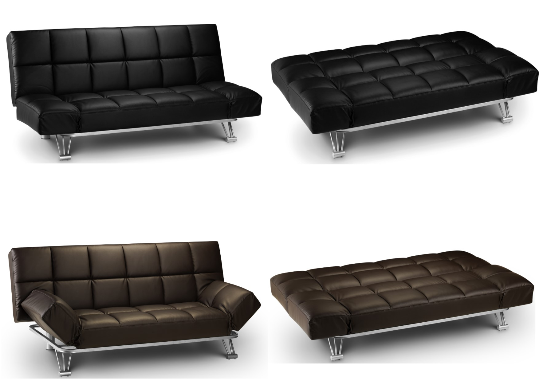 Details about Julian Bowen Manhattan Faux Leather Sofa Bed Settee - Brown  or Black