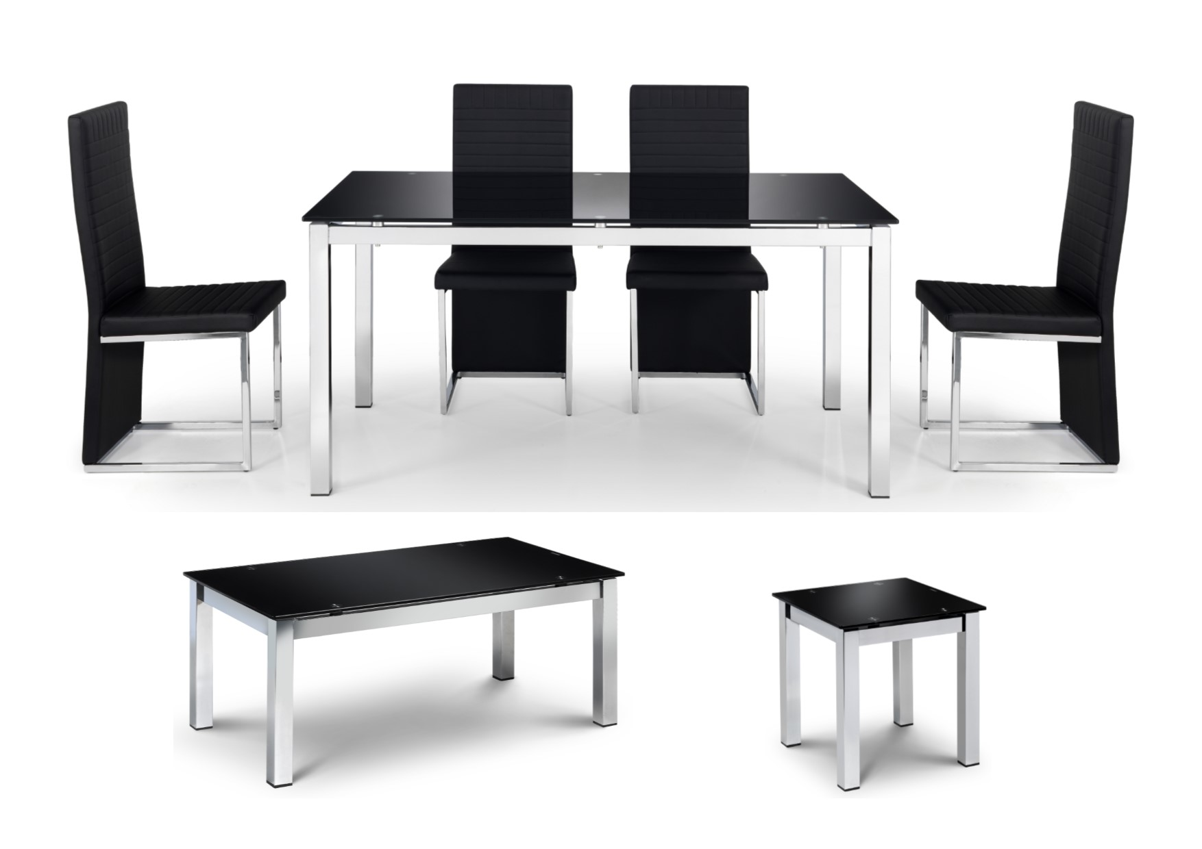Julian Bowen Tempo Tables Chairs Chrome Black Glass Coffee Lamp Dining Ebay
