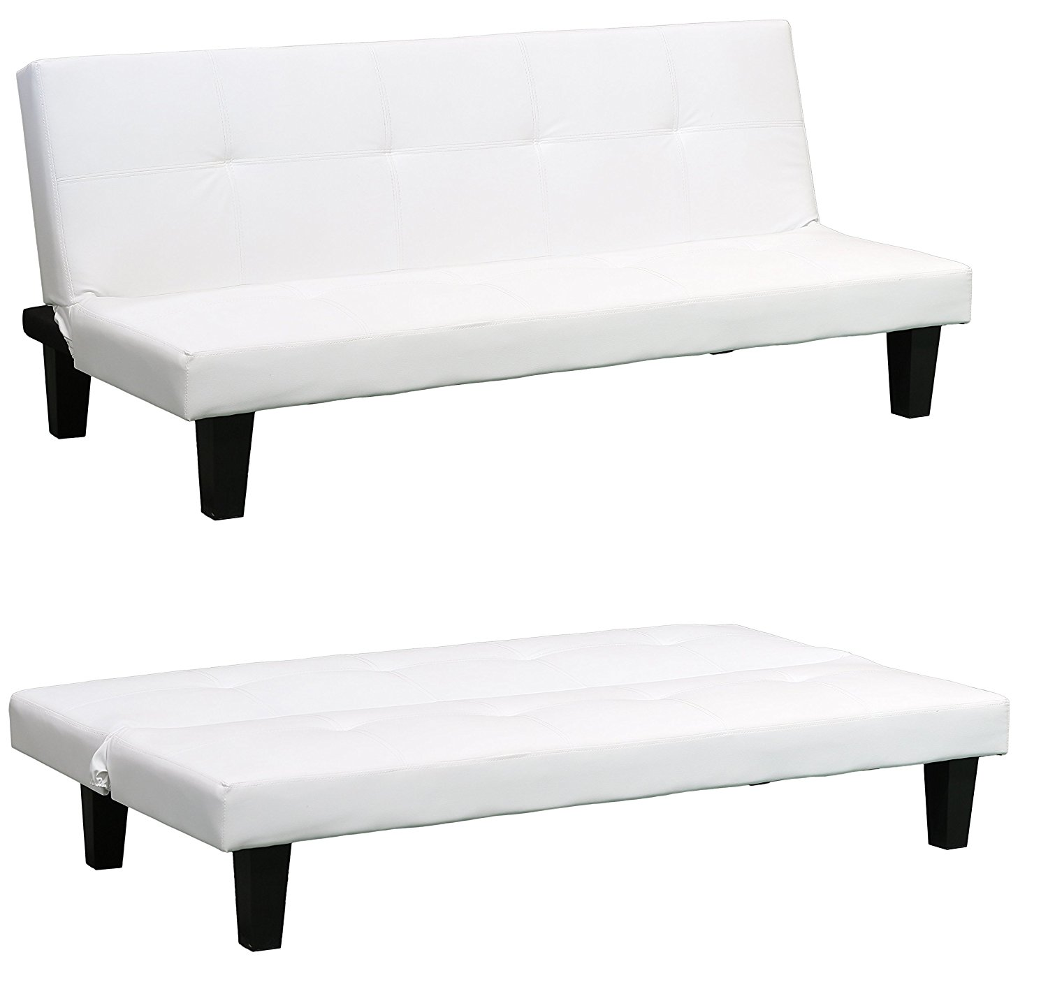 Sienna Contemporary Faux White Leather Sofa Bed Click Clack System