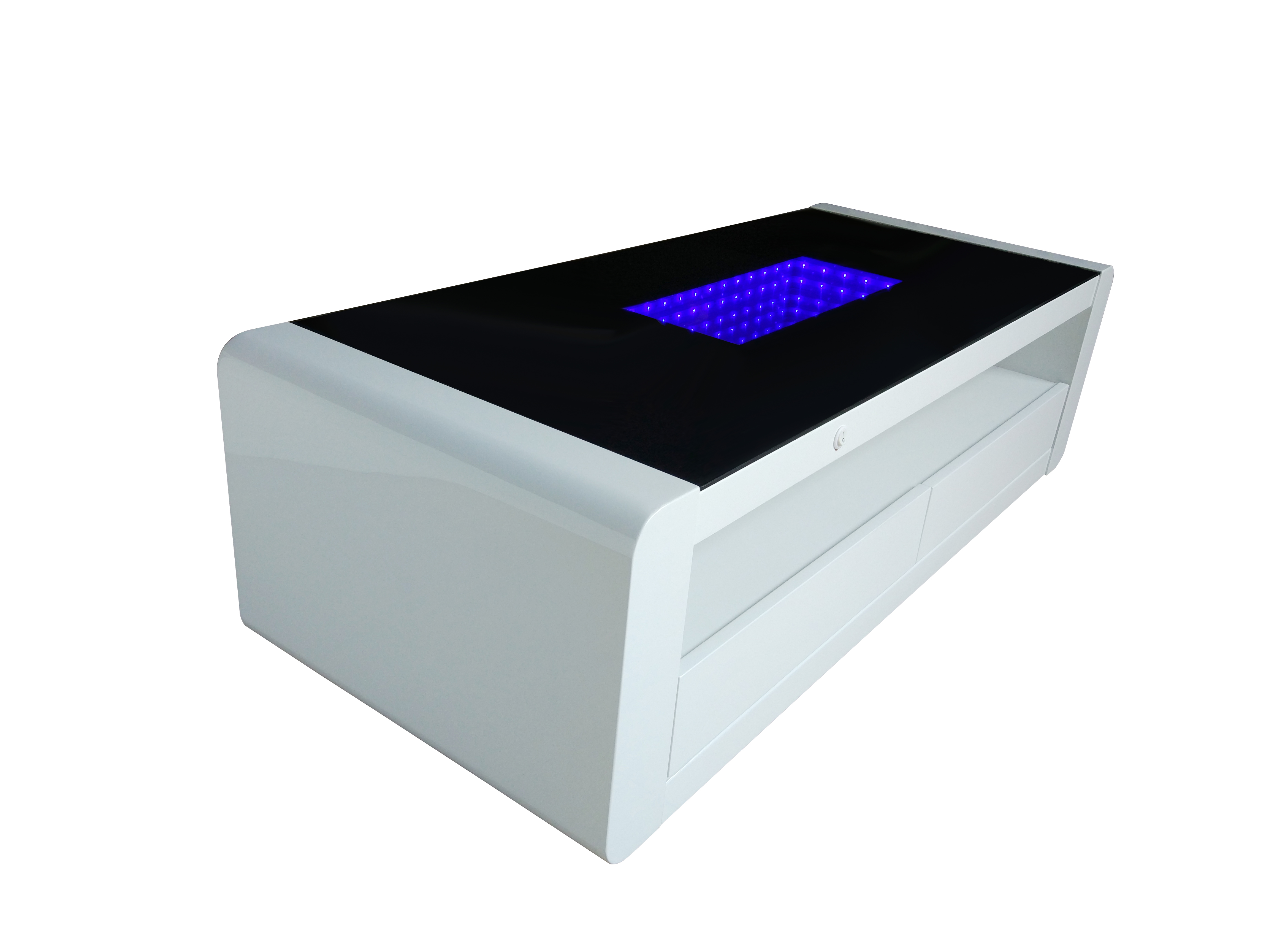Matrix high gloss coffee table white black gloss with blue led matrix high gloss coffee table white black gloss with blue led lighting geotapseo Gallery