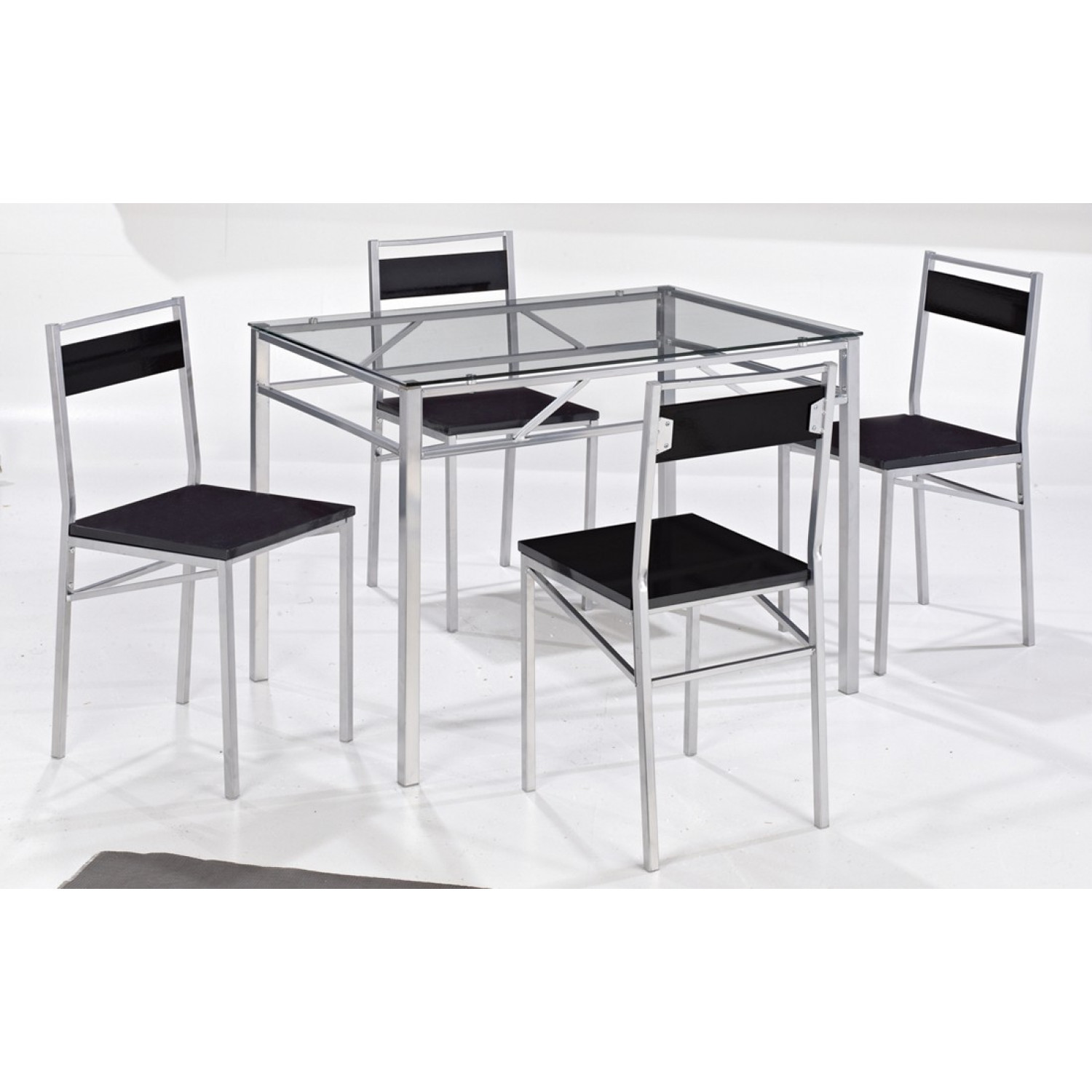 4 Seater Dining Set Gl Table Chairs Black Silver