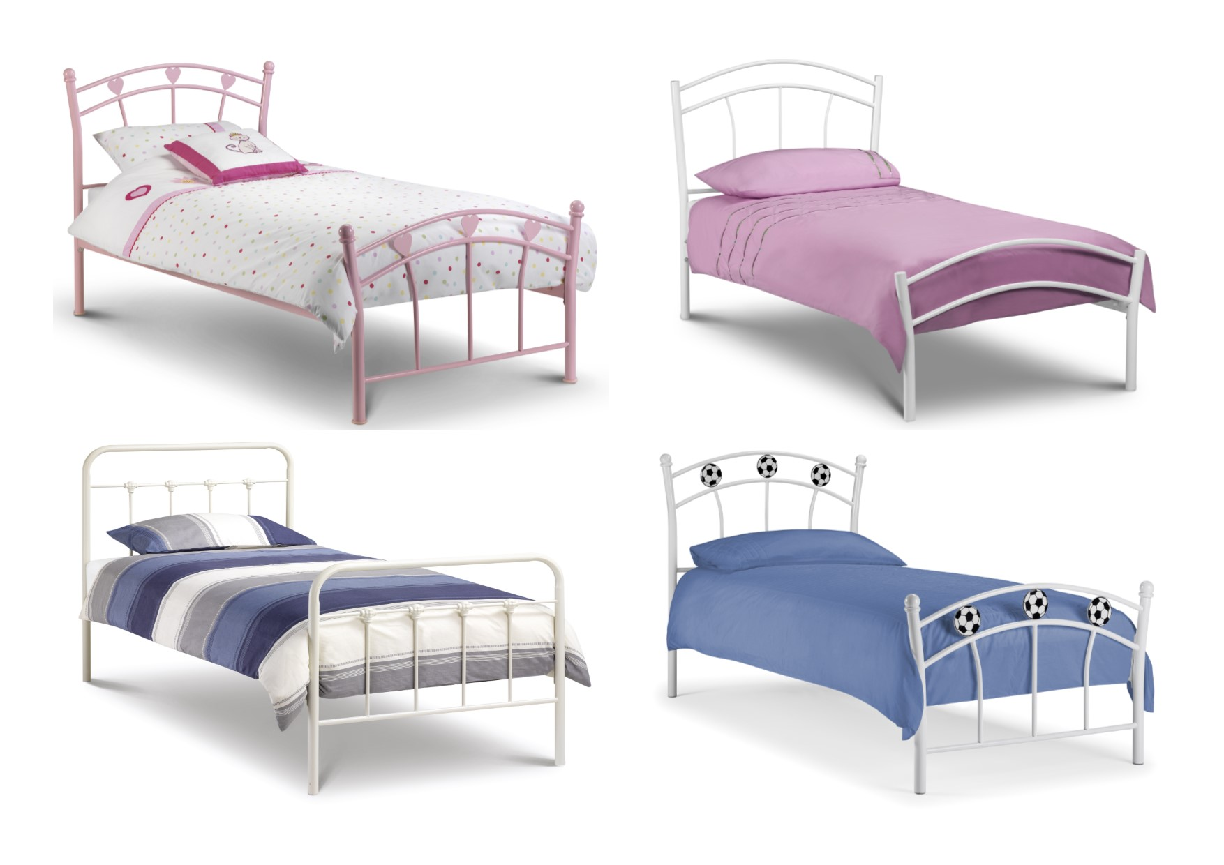 Julian Bowen Childrens Single Bed Frames Boys And Girls Pink White