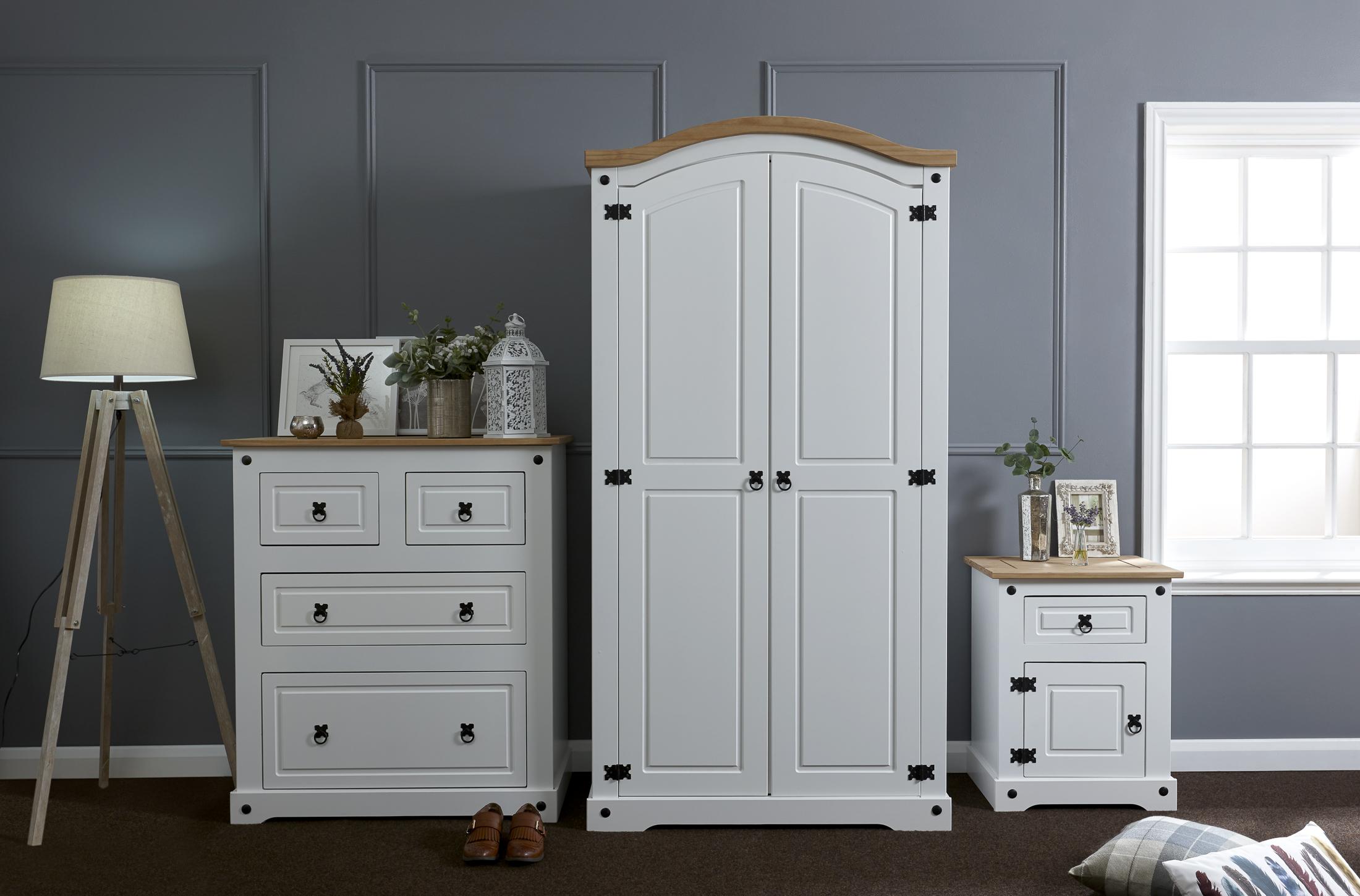 White Corona 3 Piece Trio Bedroom Furniture Set - Wardrobe, Chest ...
