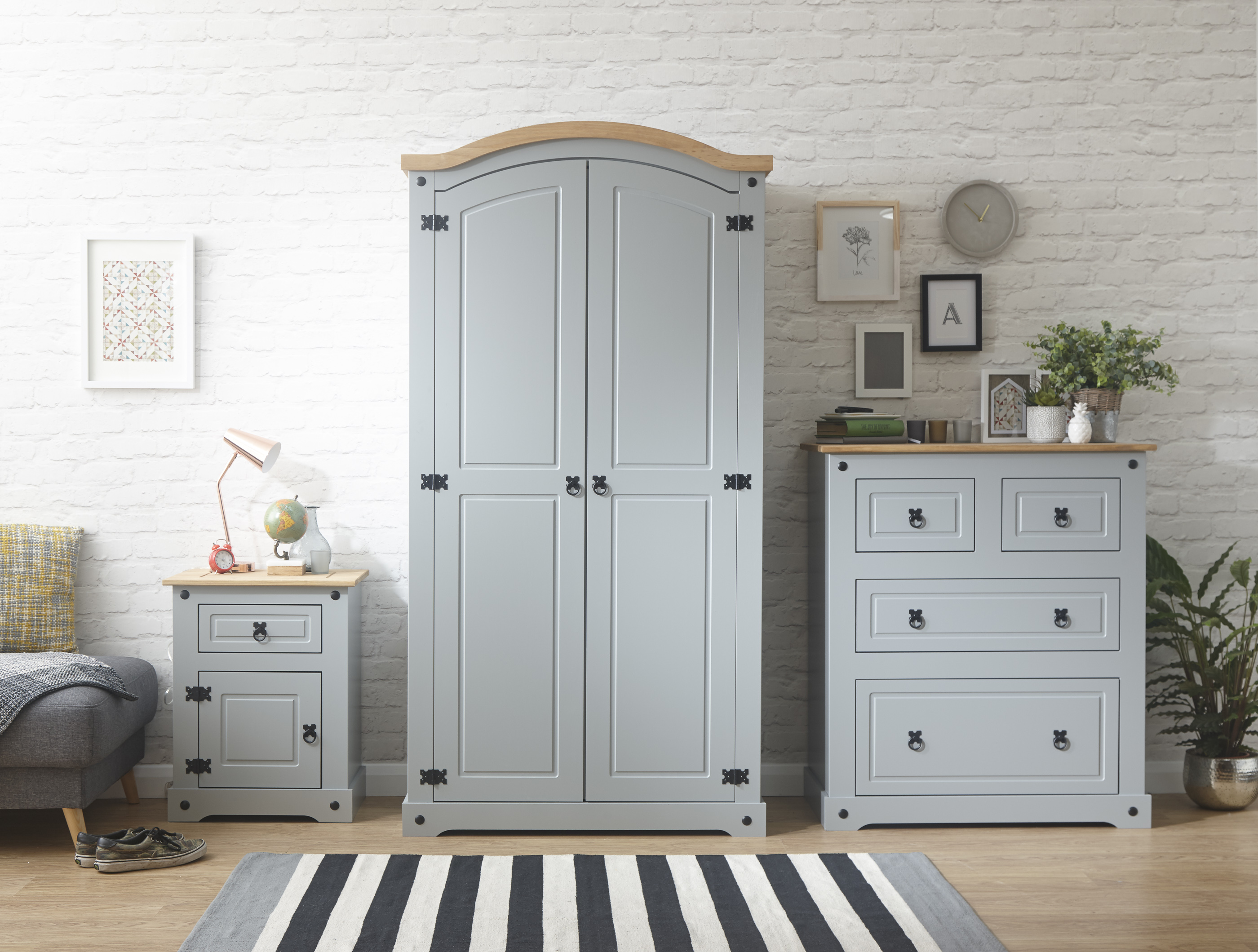 home sweet wardrobe large grey light shop homehome pine double