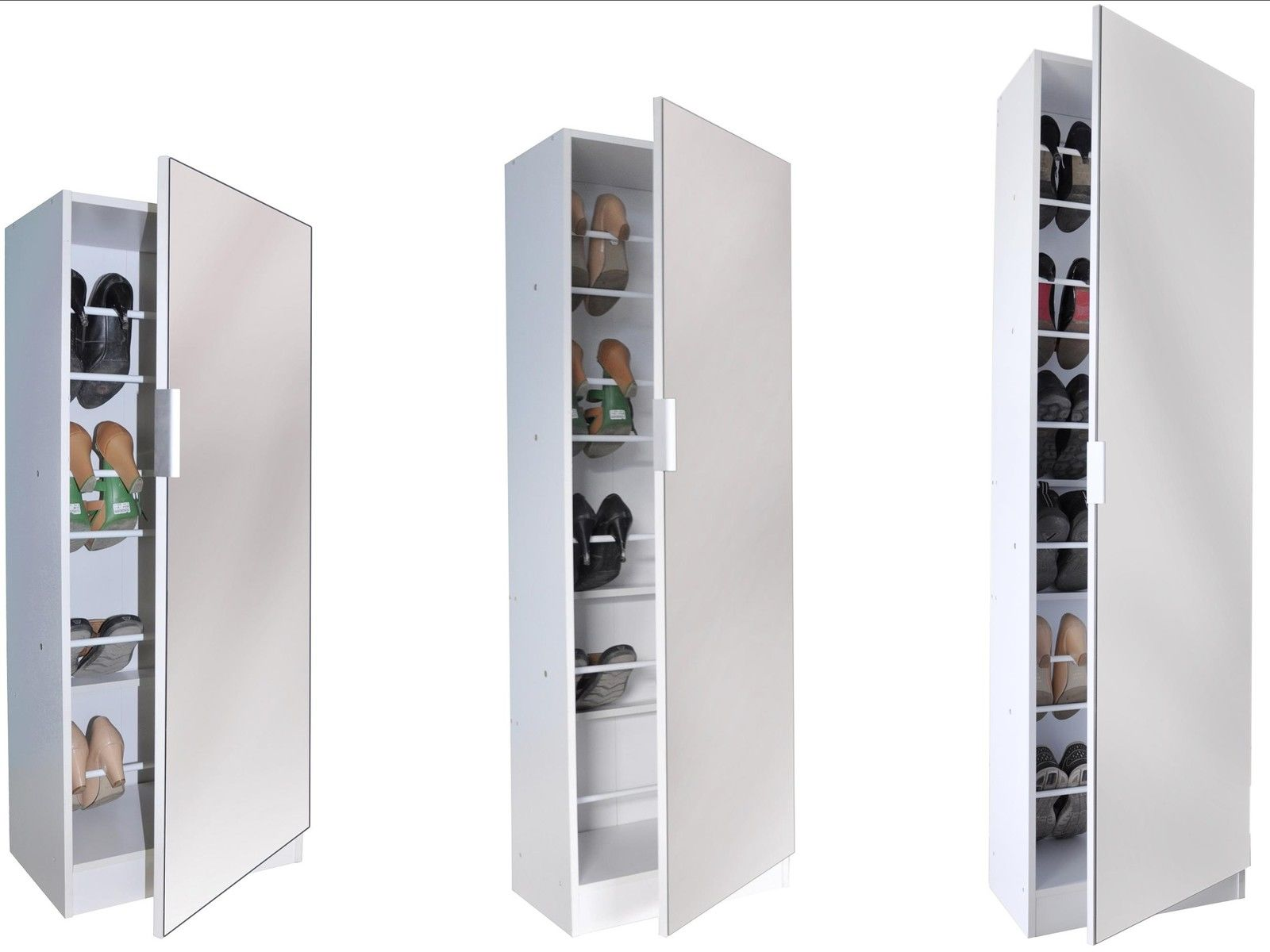 White Mirrored Shoe Cabinet Storage Rack Full Length
