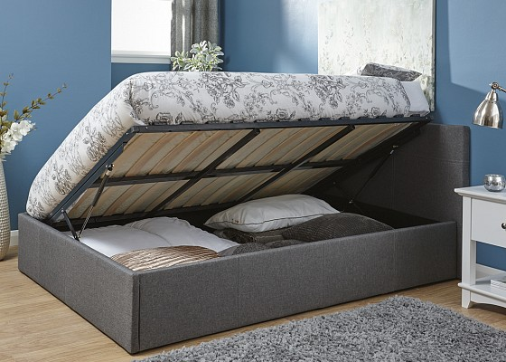 Fabric Side Lift Ottoman Gas Bed Built In Storage Grey 4ft Small Double