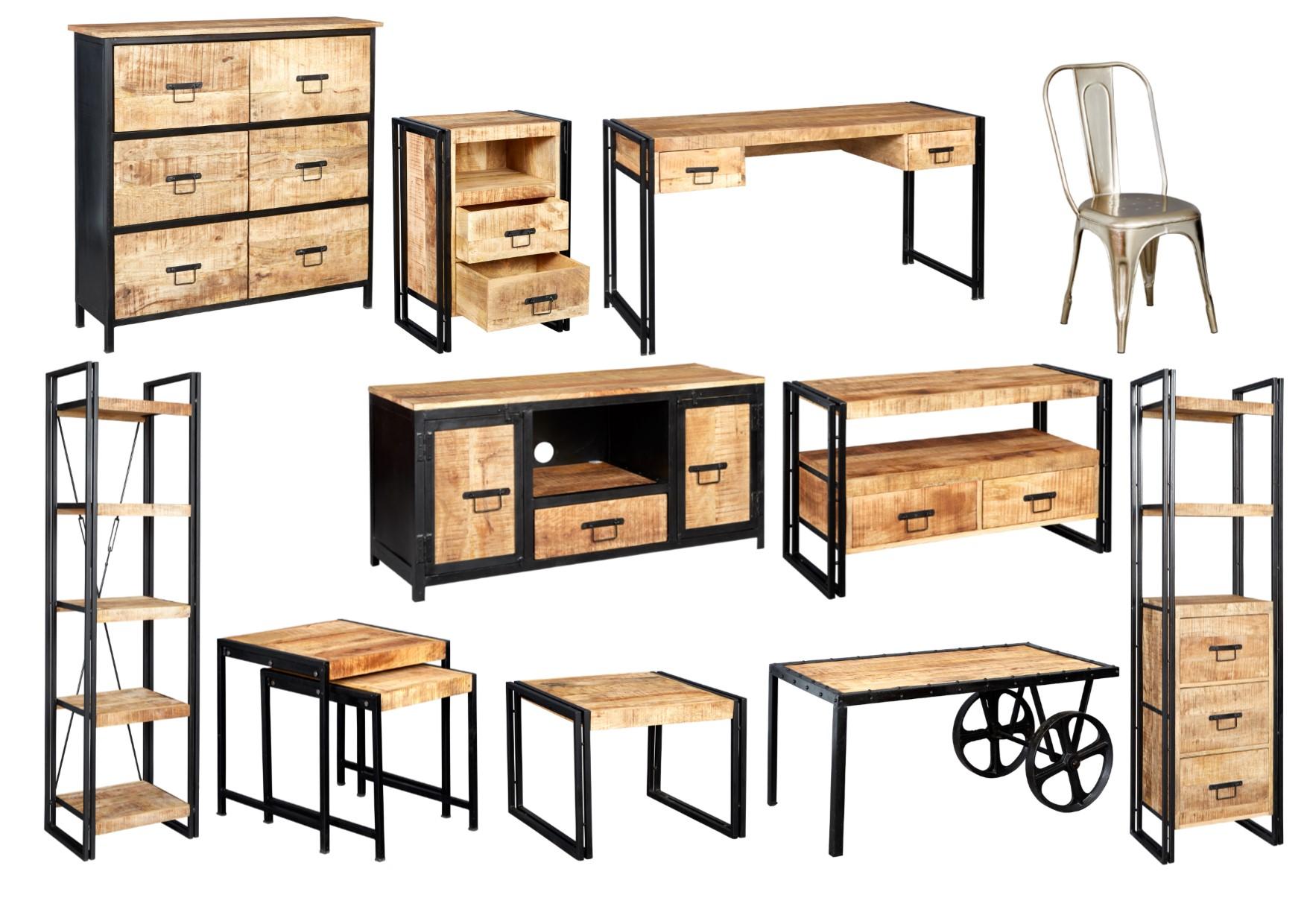 Cosmo Industrial Living Room Range Reclaimed Metal Amp Wood