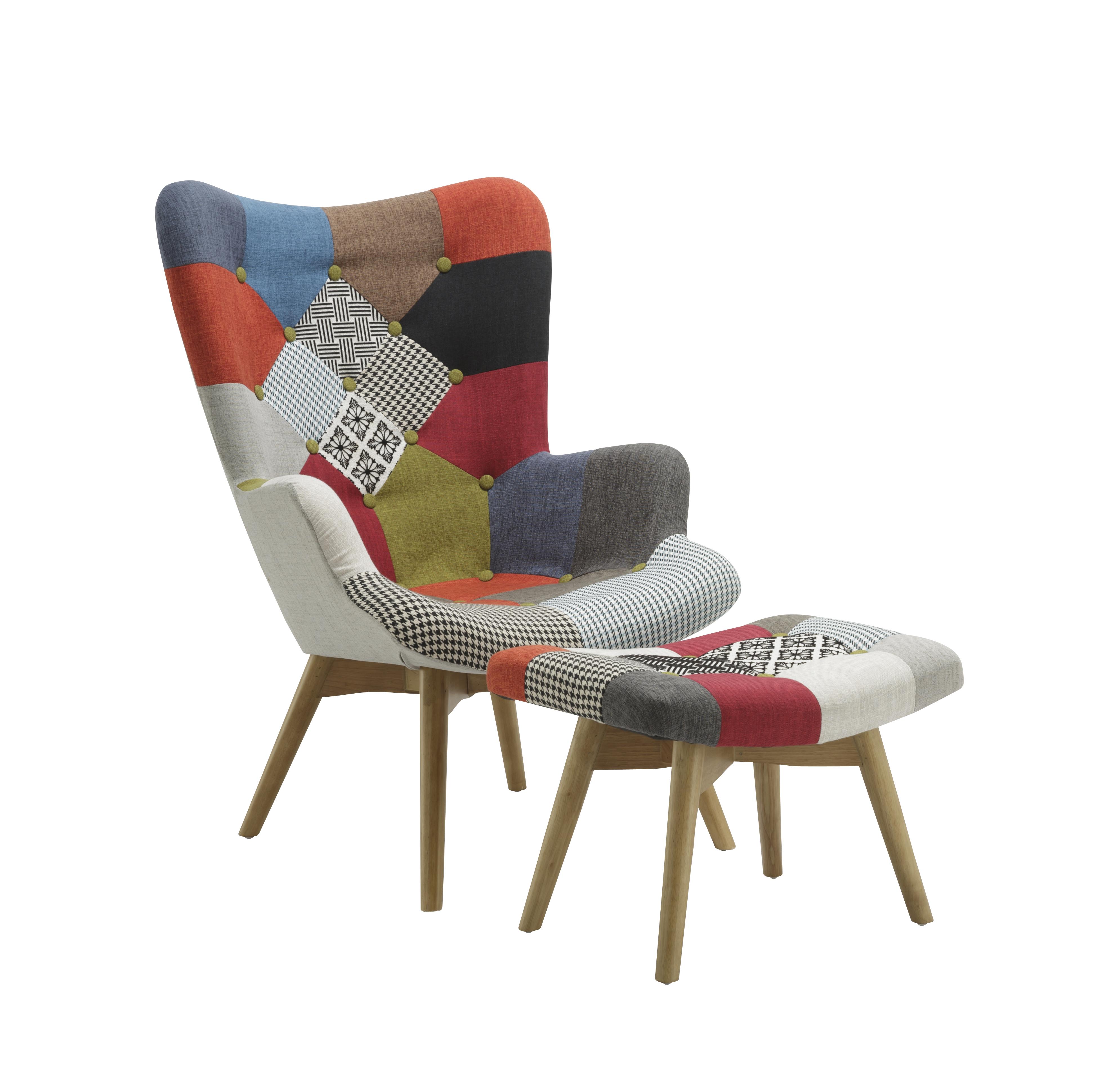 Details About Birlea Sloane Modern Designer Patchwork Armchair Stool Set Multi Colour