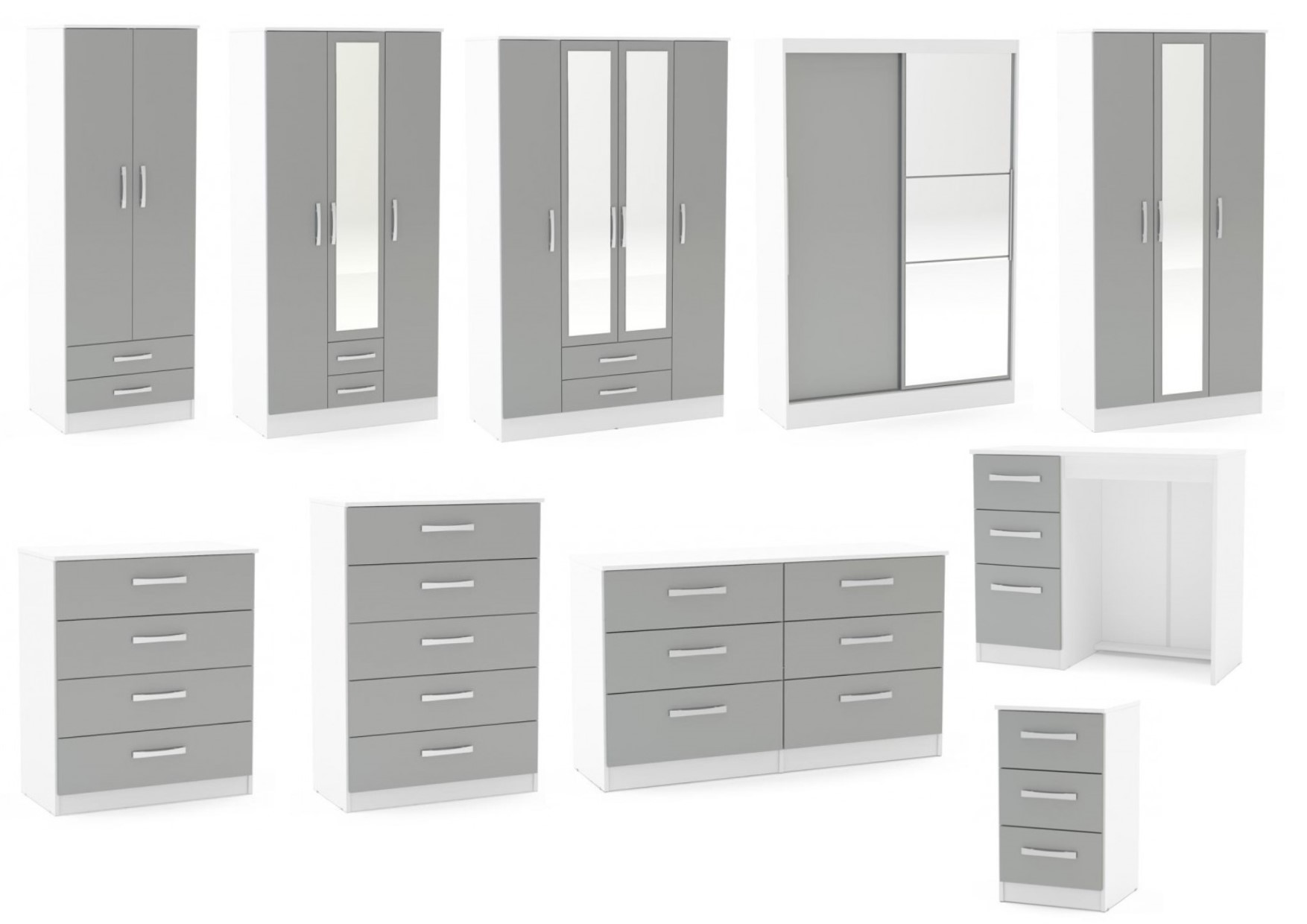 Lynx White Grey Gloss Bedroom Furniture Wardrobe Chest Bedside By