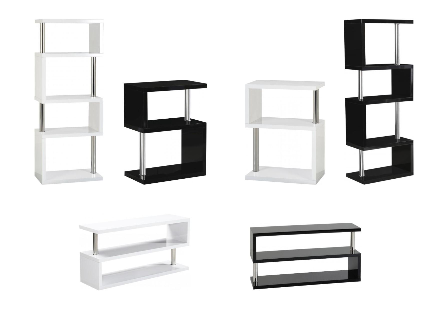 Charisma S Shape Shelves Tv Units Black Or White High Gloss Chrome