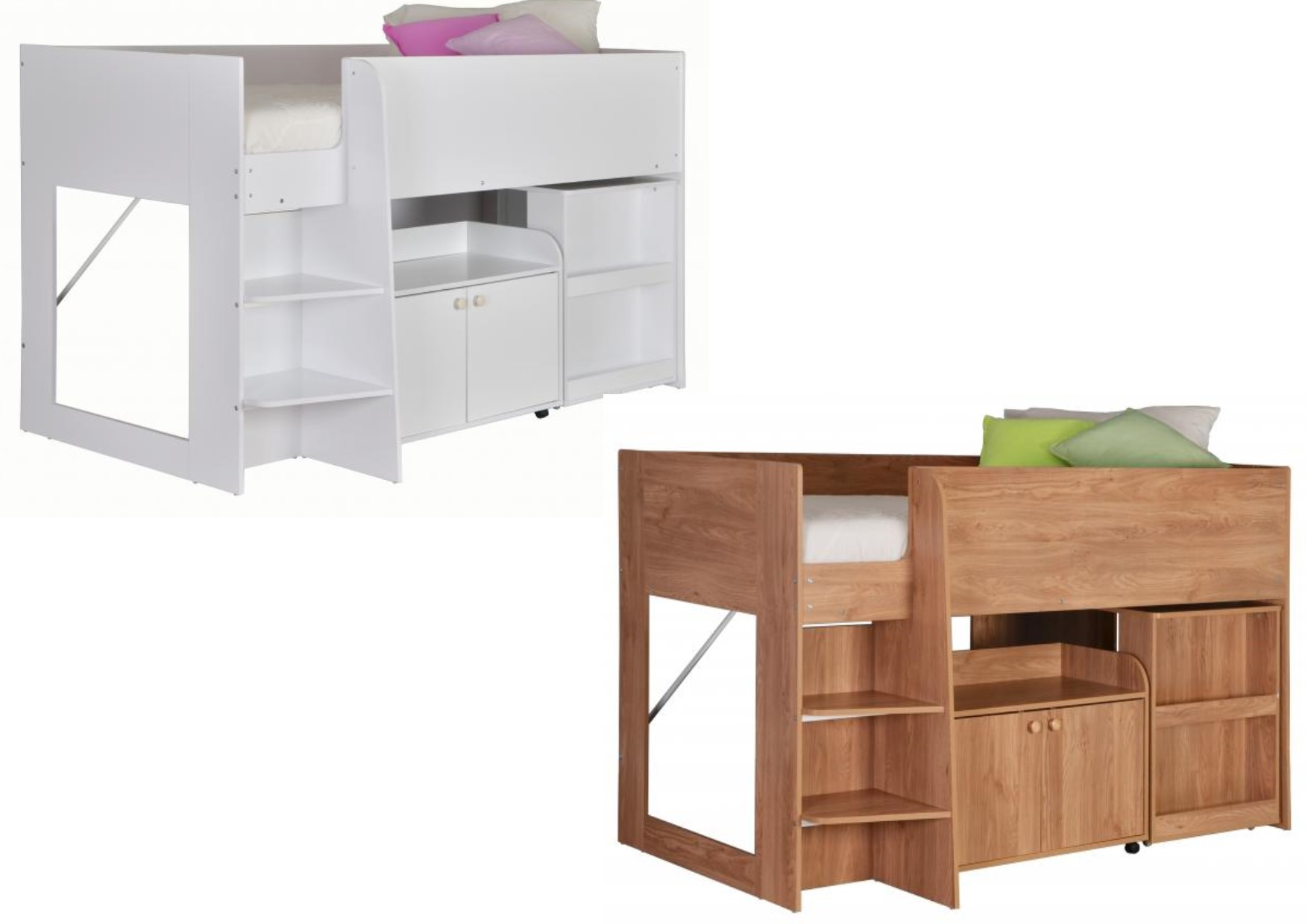 Astro Study Bunk Storage Cupboard Pull Out Desk White Or Oak Effect