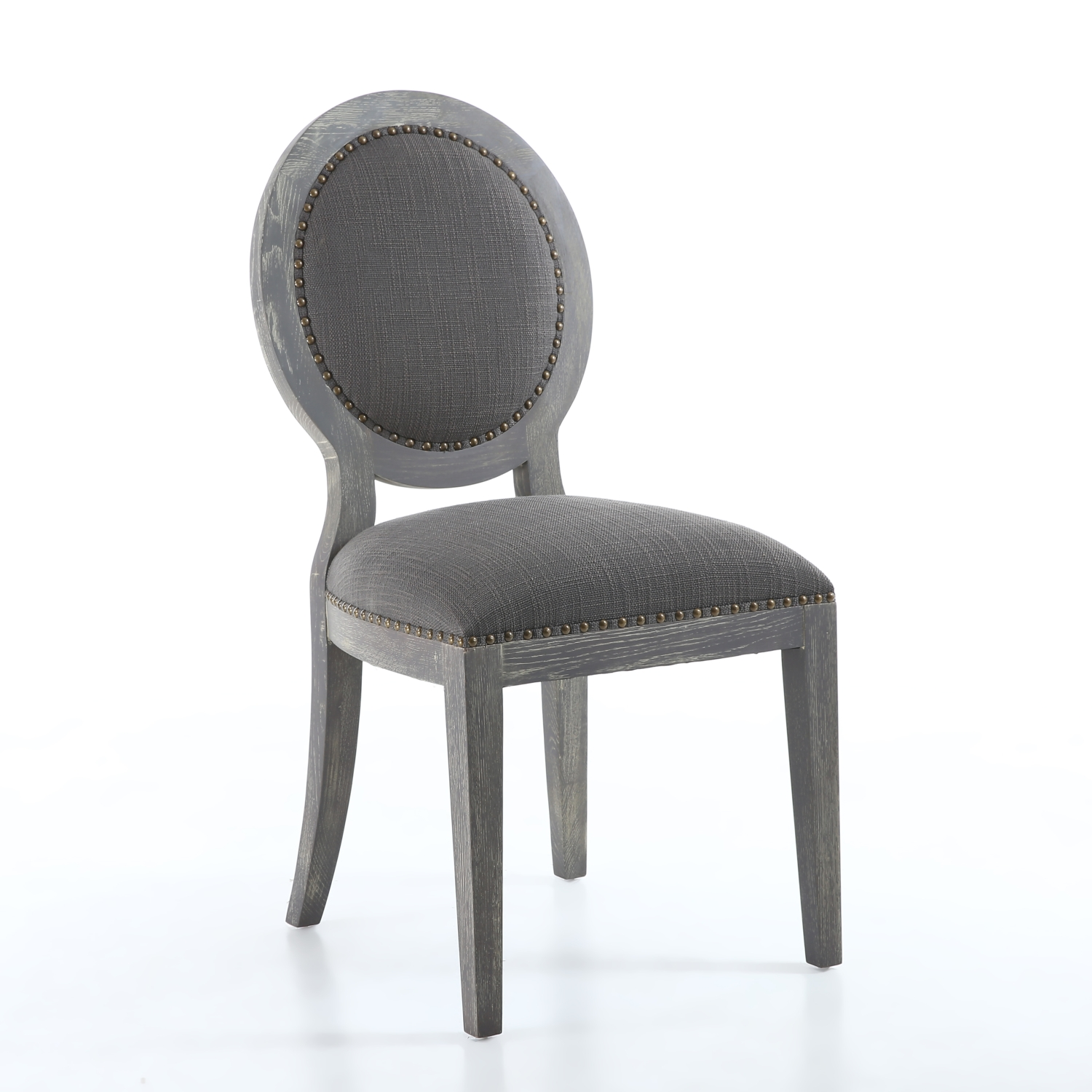 x manor antique grey dining chairs  brass studs grey washed solid oaklegs. x manor antique grey dining chairs  brass studs grey washed