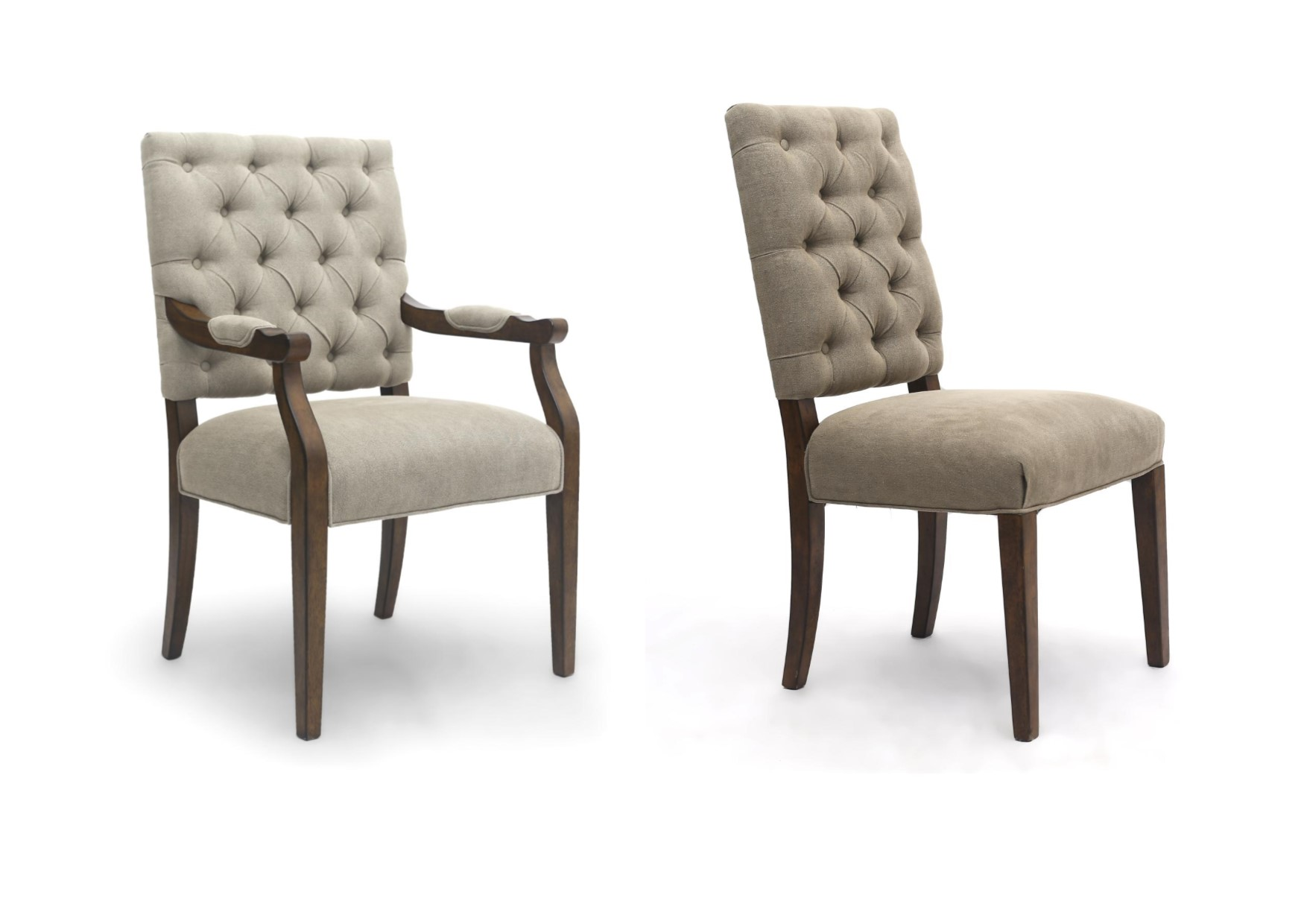 Portland Luxury Carver Chair Dining Linen Fabric On Back Natural