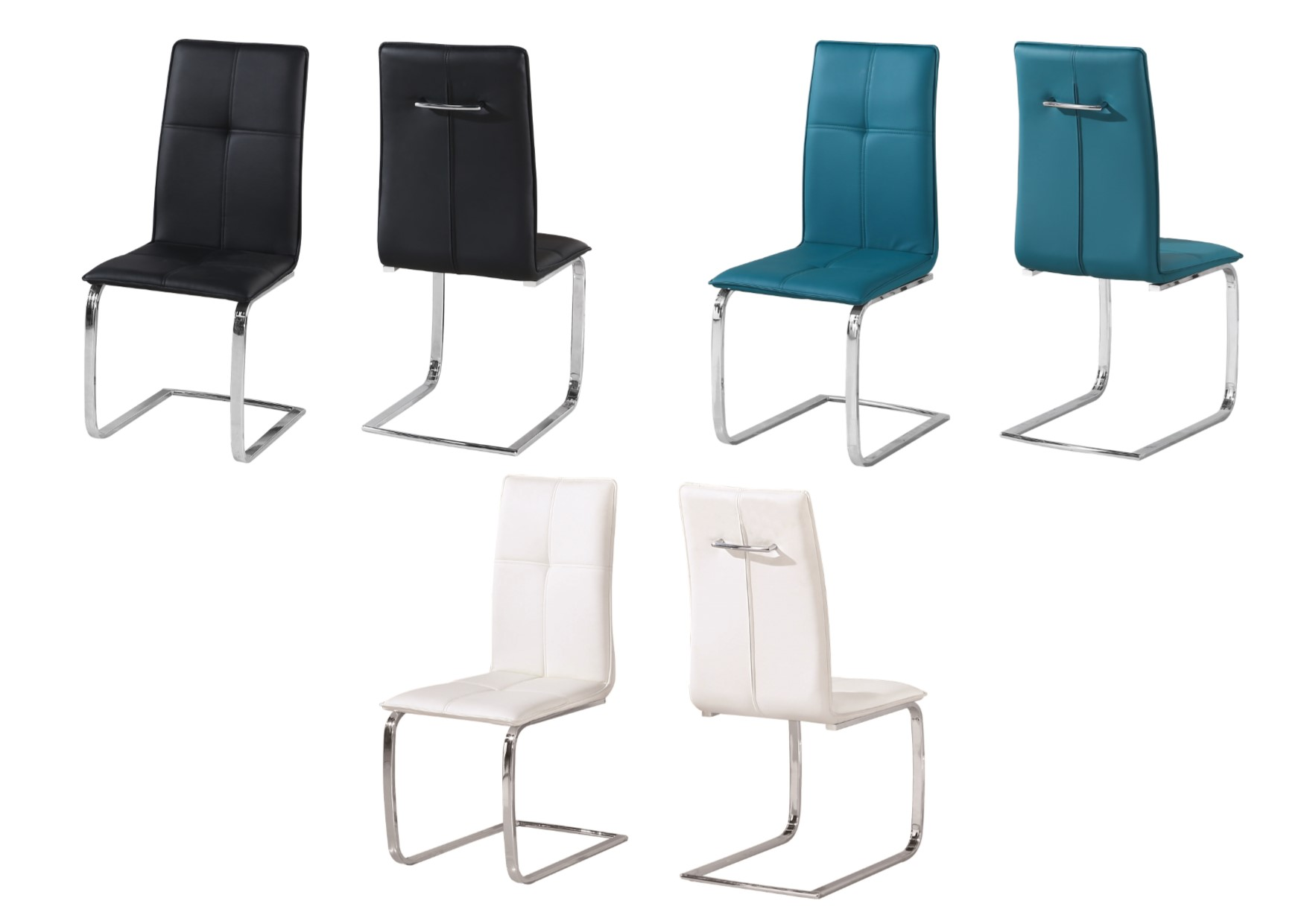 Lpd Opus Faux Leather Chrome Dining Chairs Black Teal White X2